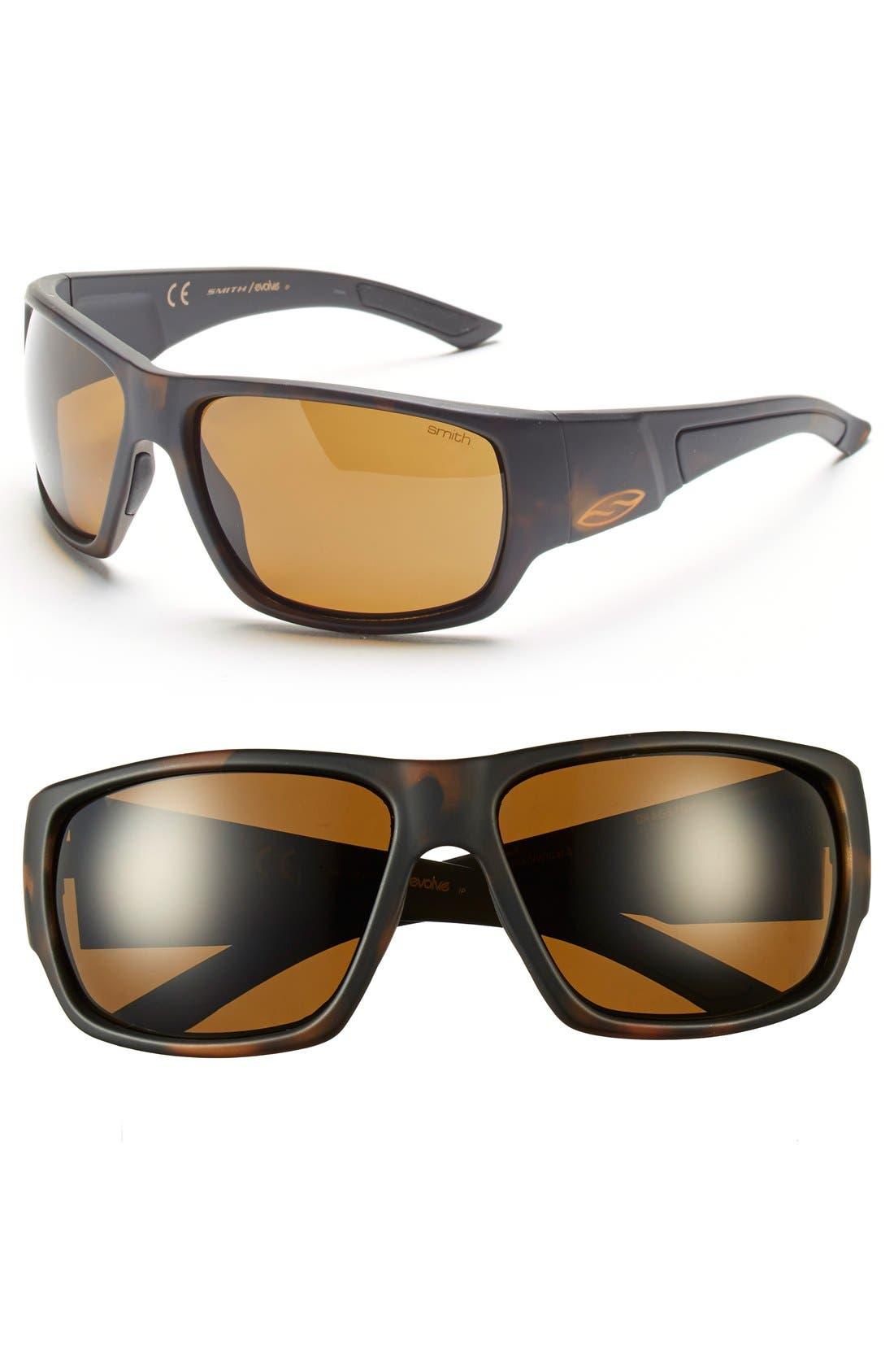 'Dragstrip' 64mm Polarized Sunglasses,                         Main,                         color, Matte Tortoise/ Polar Brown