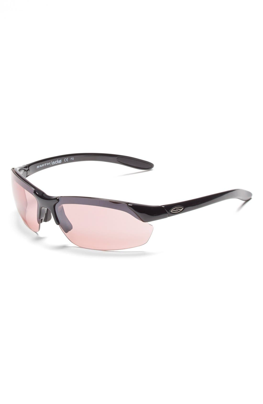 'Parallel Max' 65mm Polarized Sunglasses,                             Alternate thumbnail 4, color,                             Black/ Polar Grey/ Clear