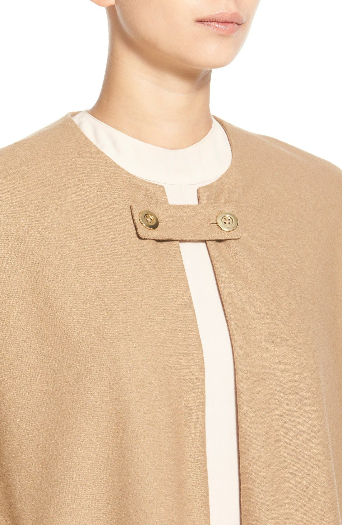 Collarless Woven Cape,                             Alternate thumbnail 4, color,                             Beige