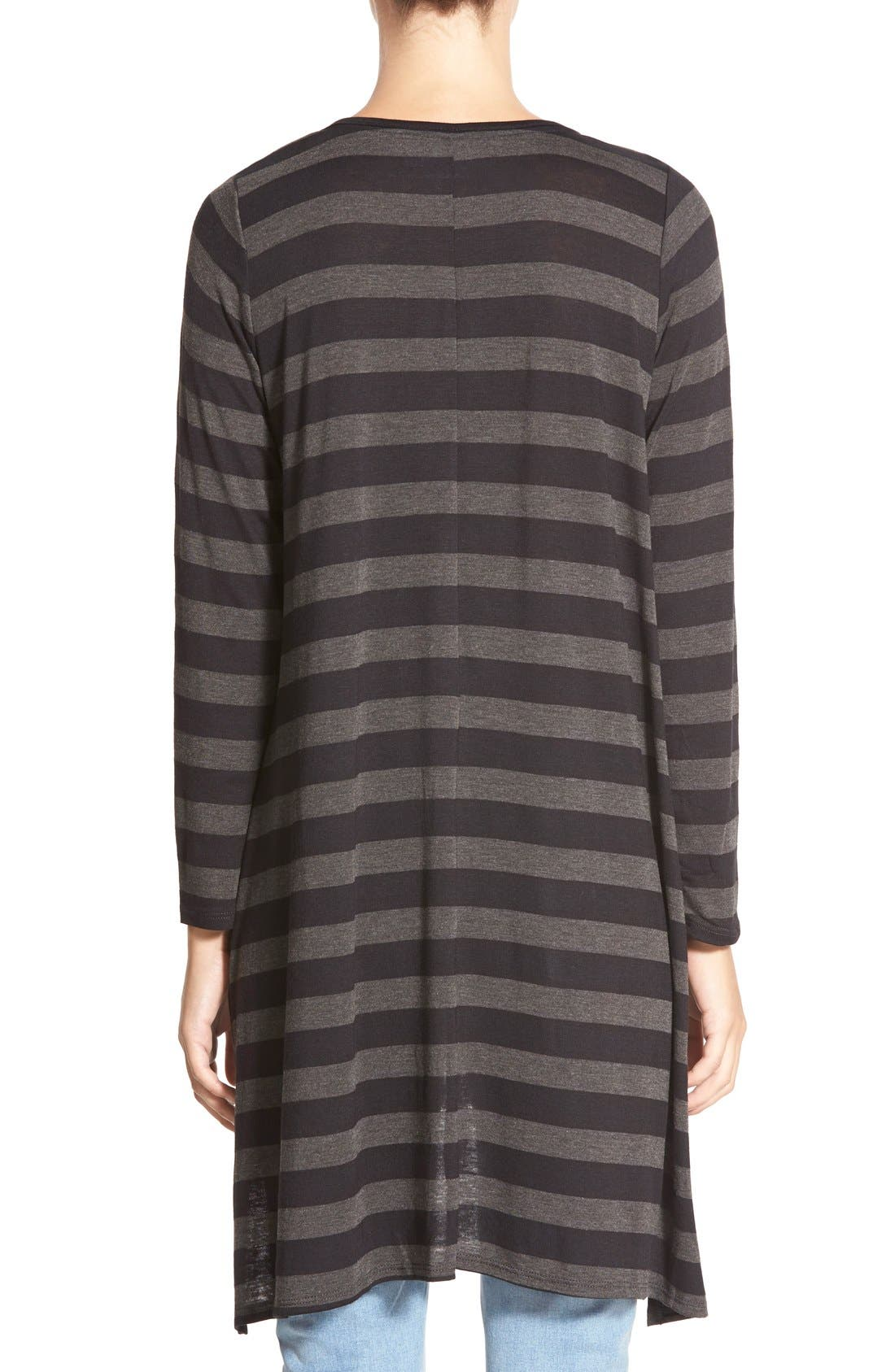 Stripe High/Low Tunic Tee,                             Alternate thumbnail 2, color,                             Black Large Stripe