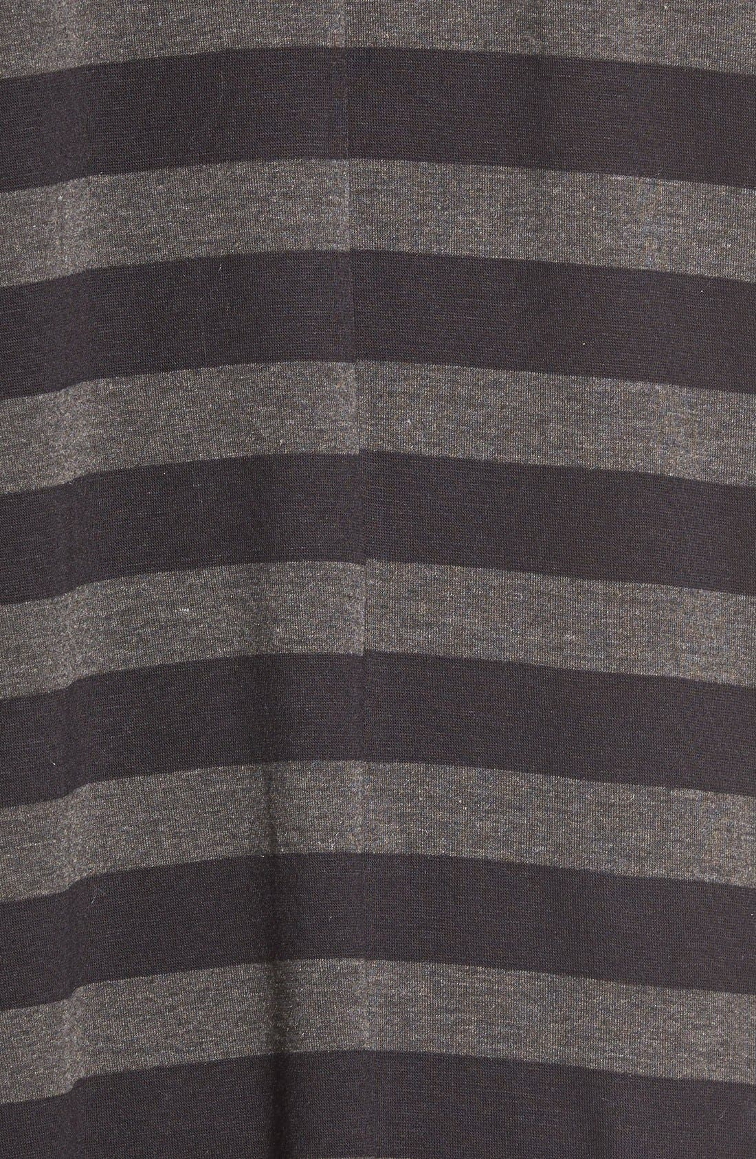 Stripe High/Low Tunic Tee,                             Alternate thumbnail 5, color,                             Black Large Stripe