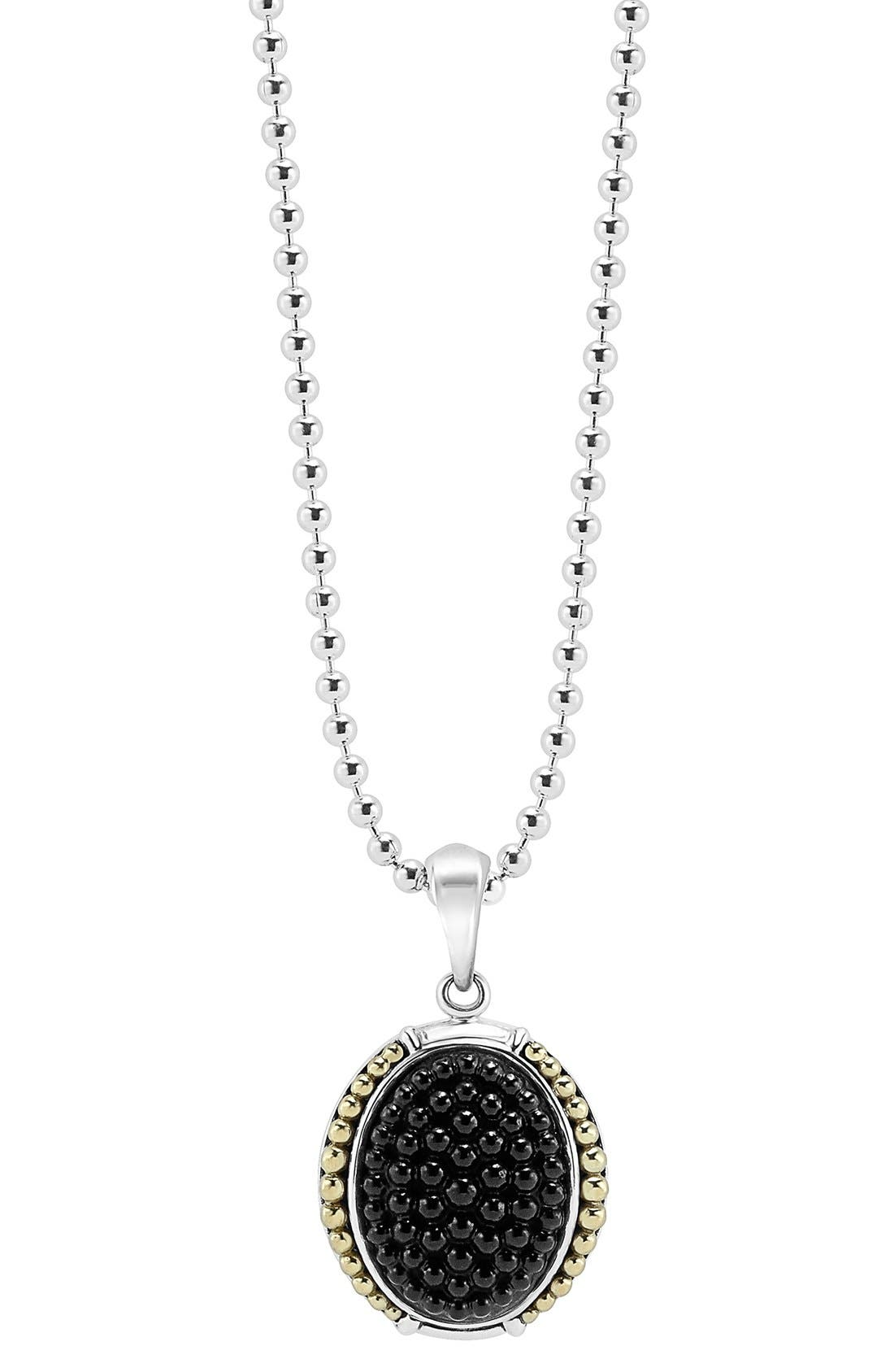 'Black Caviar' Oval Pendant Necklace,                         Main,                         color, Silver/ Gold/ Onyx