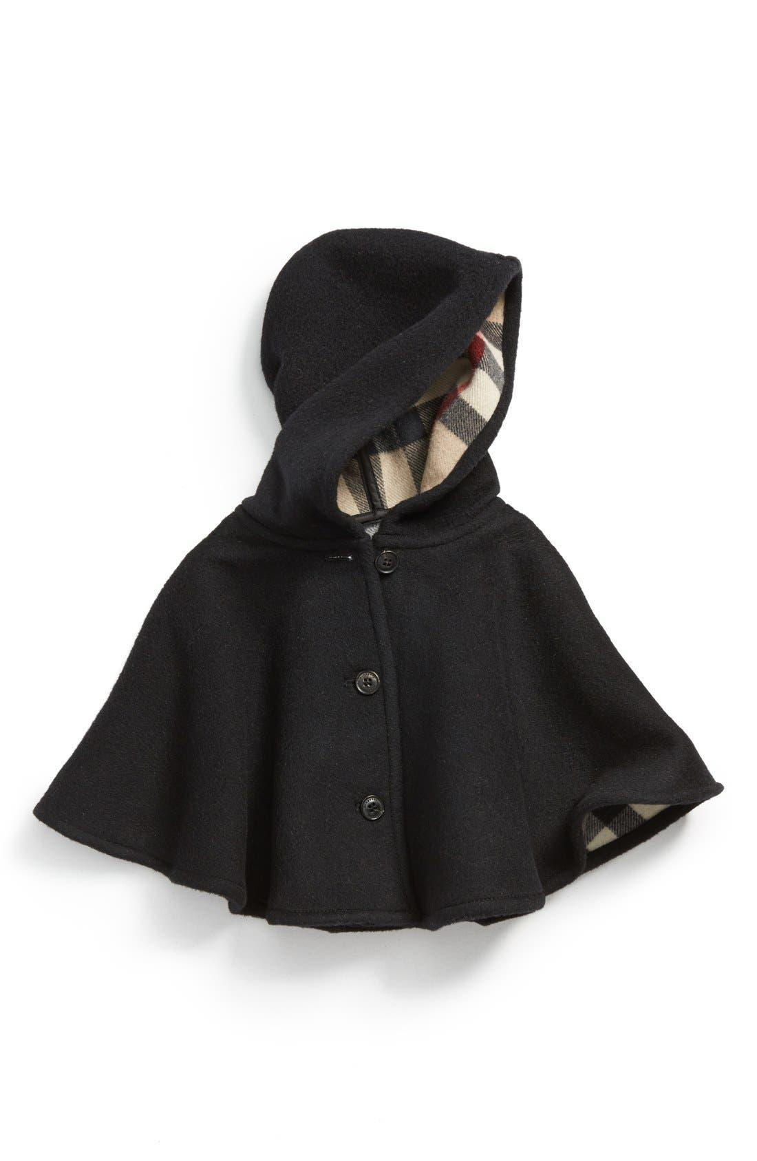 Main Image - Burberry 'Rosa' Hooded Wool Cape (Baby Girls)