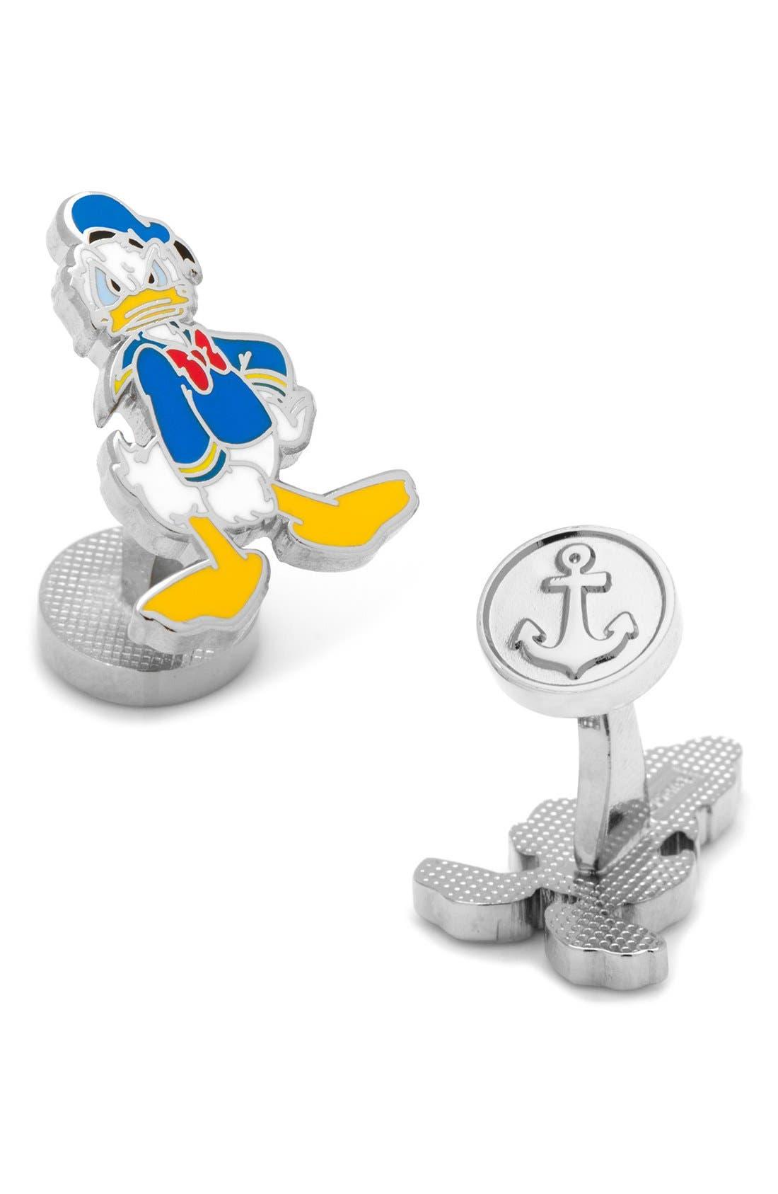 Donald Duck Cuff Links,                         Main,                         color, Blue Multi