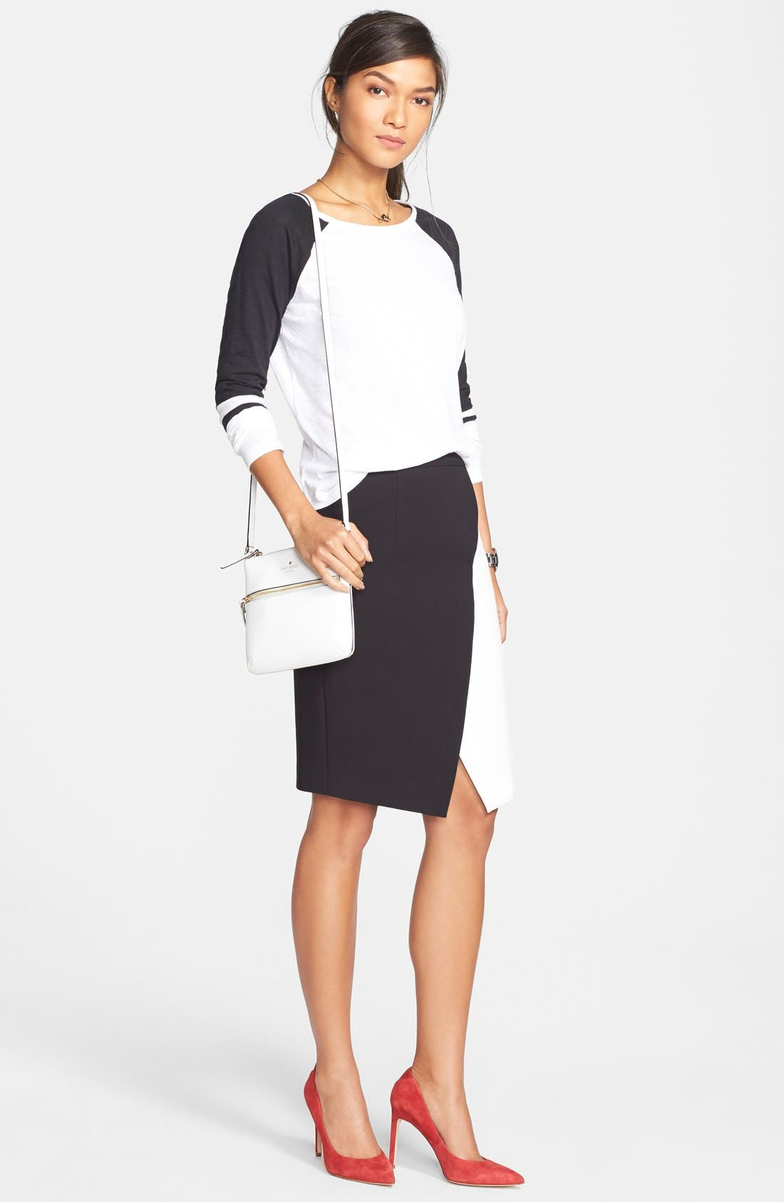 Alternate Image 2  - Halogen® Colorblock Faux Wrap Skirt