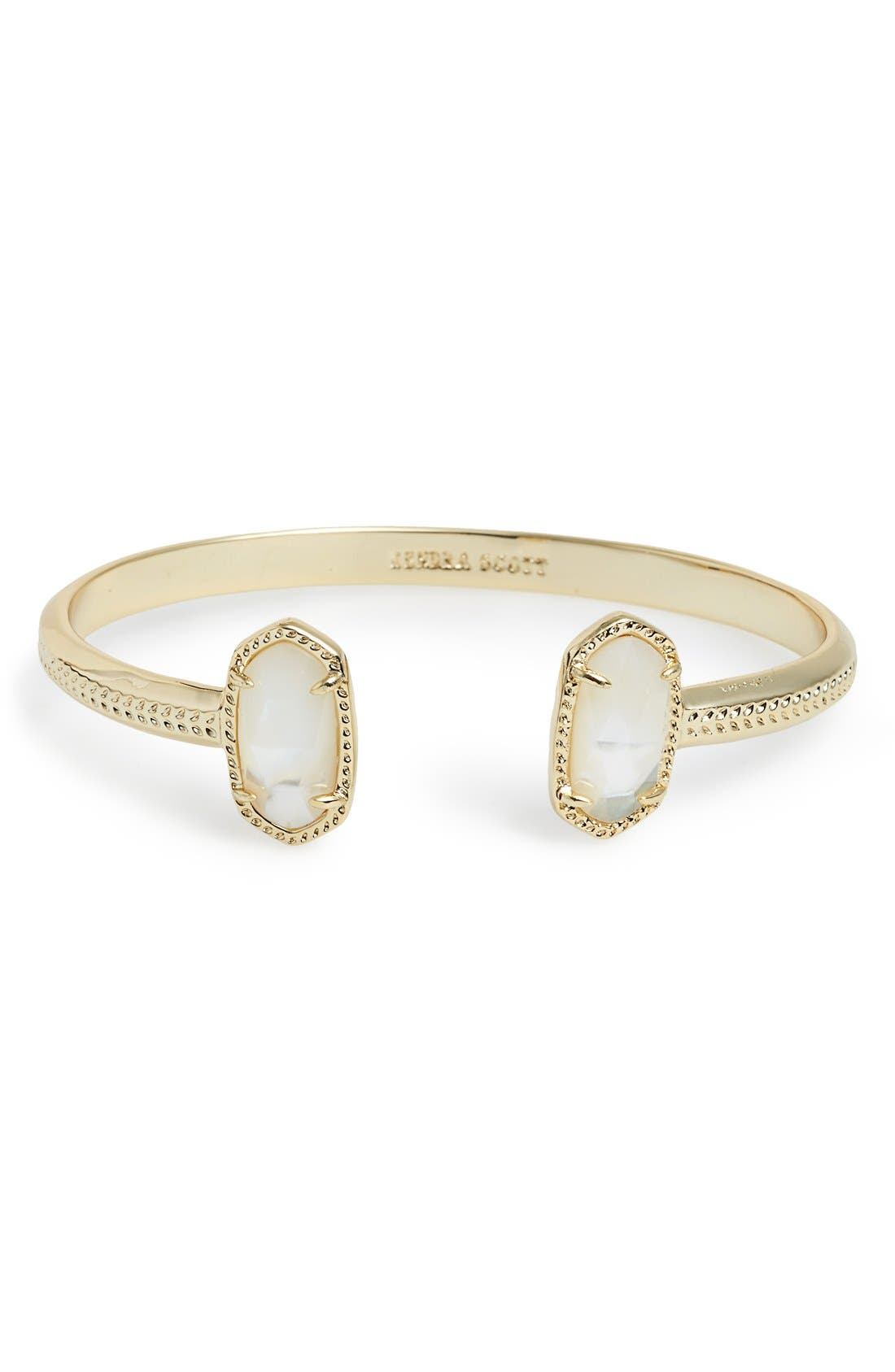 'Elton' Station Cuff Bracelet,                         Main,                         color, Ivory/ Mother Of Pearl Gold