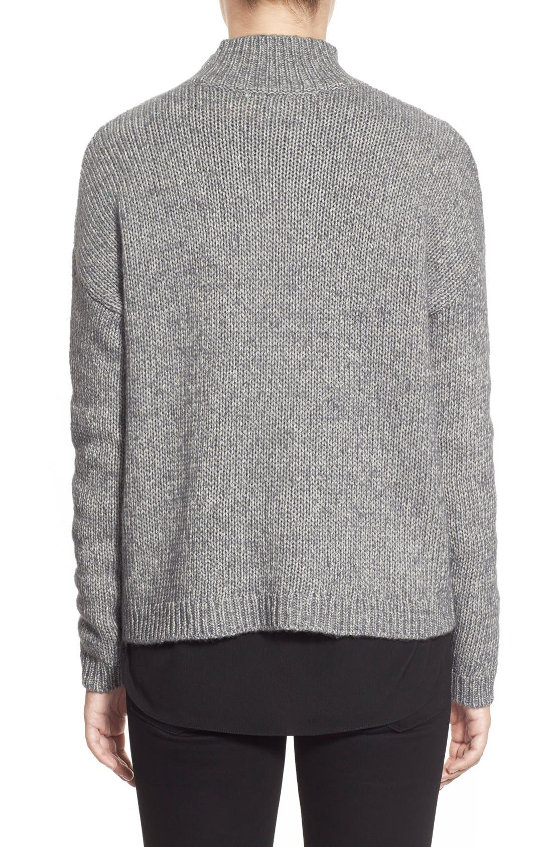 Pattern Front Mock Neck Sweater,                             Alternate thumbnail 2, color,                             Charcoal Marl