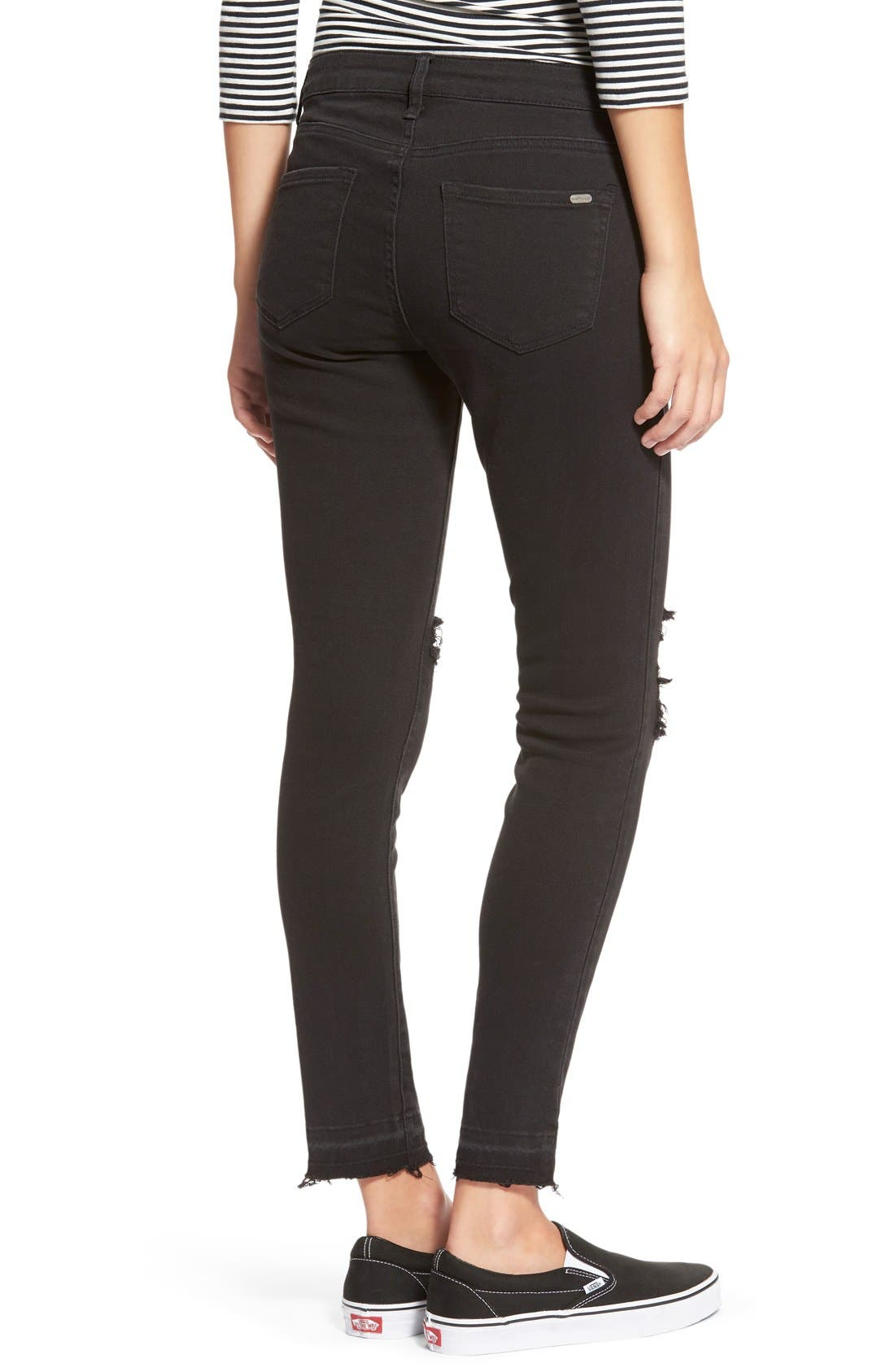STSBlue 'Emma' Distressed High Rise Ankle Skinny Jeans,                             Alternate thumbnail 3, color,                             Black