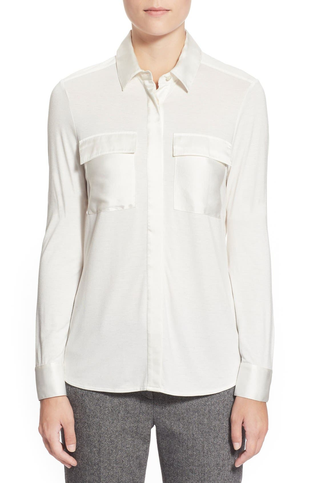 Alternate Image 1 Selected - Pink Tartan Silk Trim Jersey Shirt