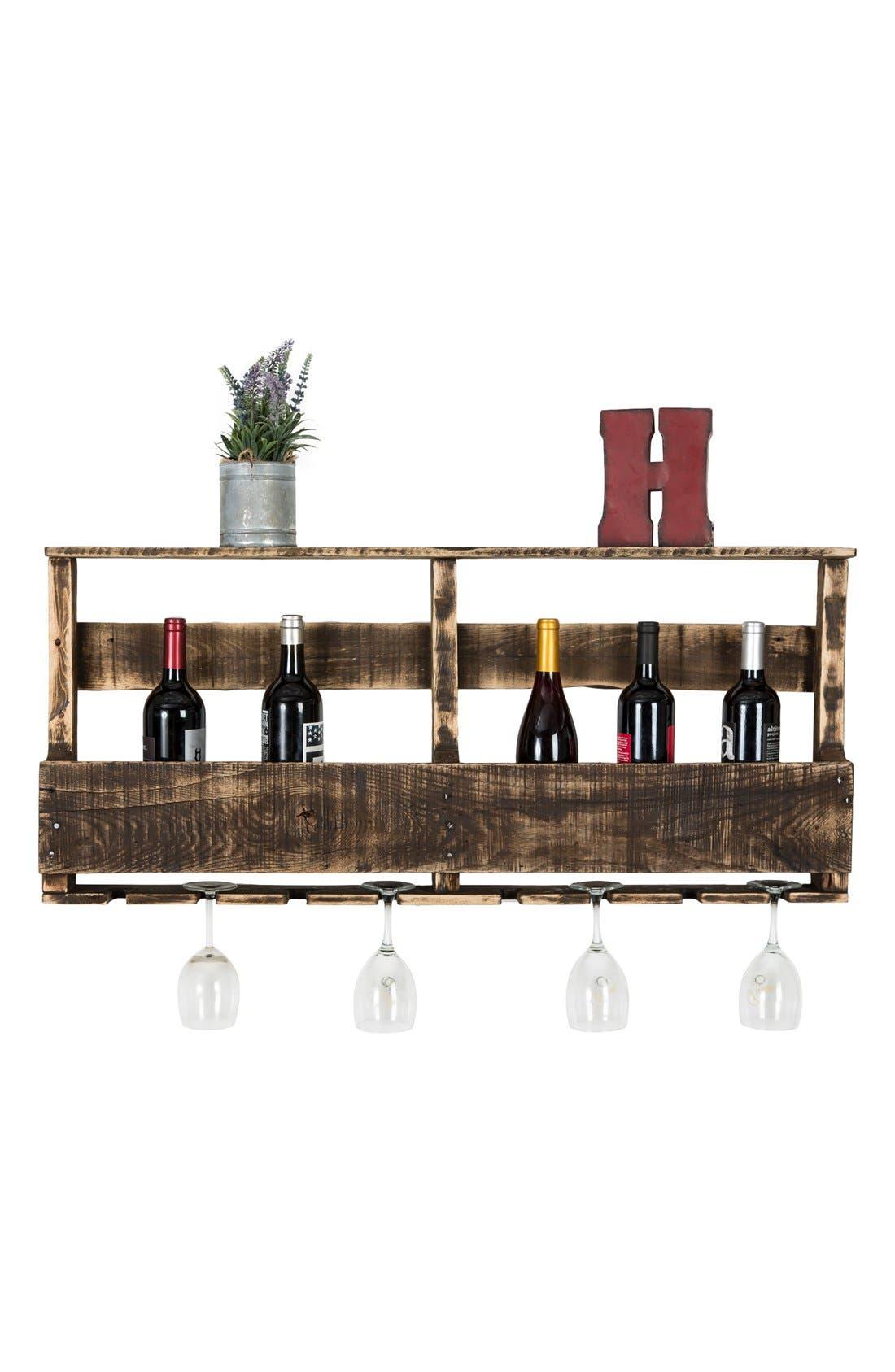 (del) Hutson Designs 'Top Shelf' RepurposedWood Wine Rack,                             Alternate thumbnail 2, color,                             Darkwalnut Distressed