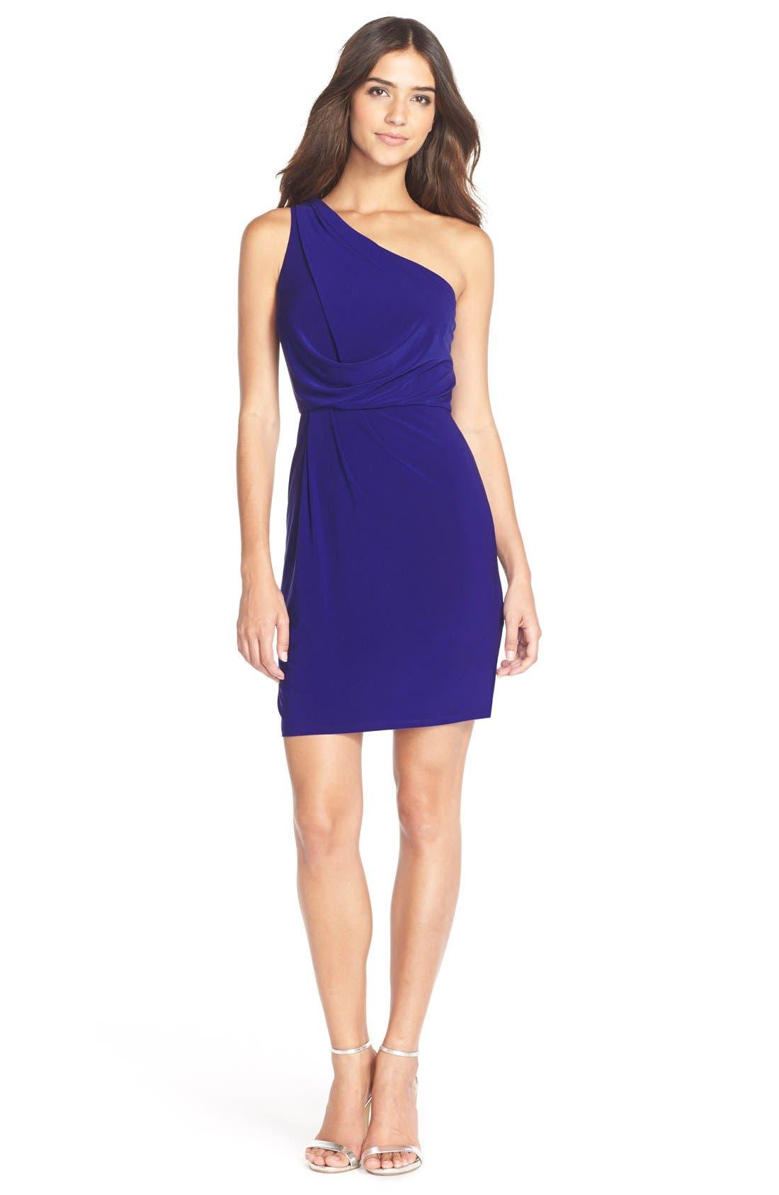 Alternate Image 3  - Adrianna Papell One-Shoulder Jersey Blouson Dress
