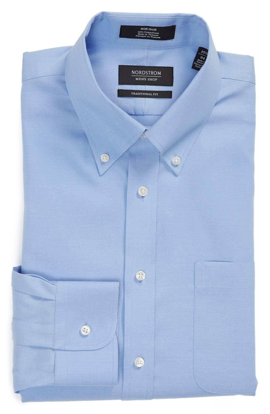NORDSTROM MENS SHOP Traditional Fit Non-Iron Solid Dress Shirt