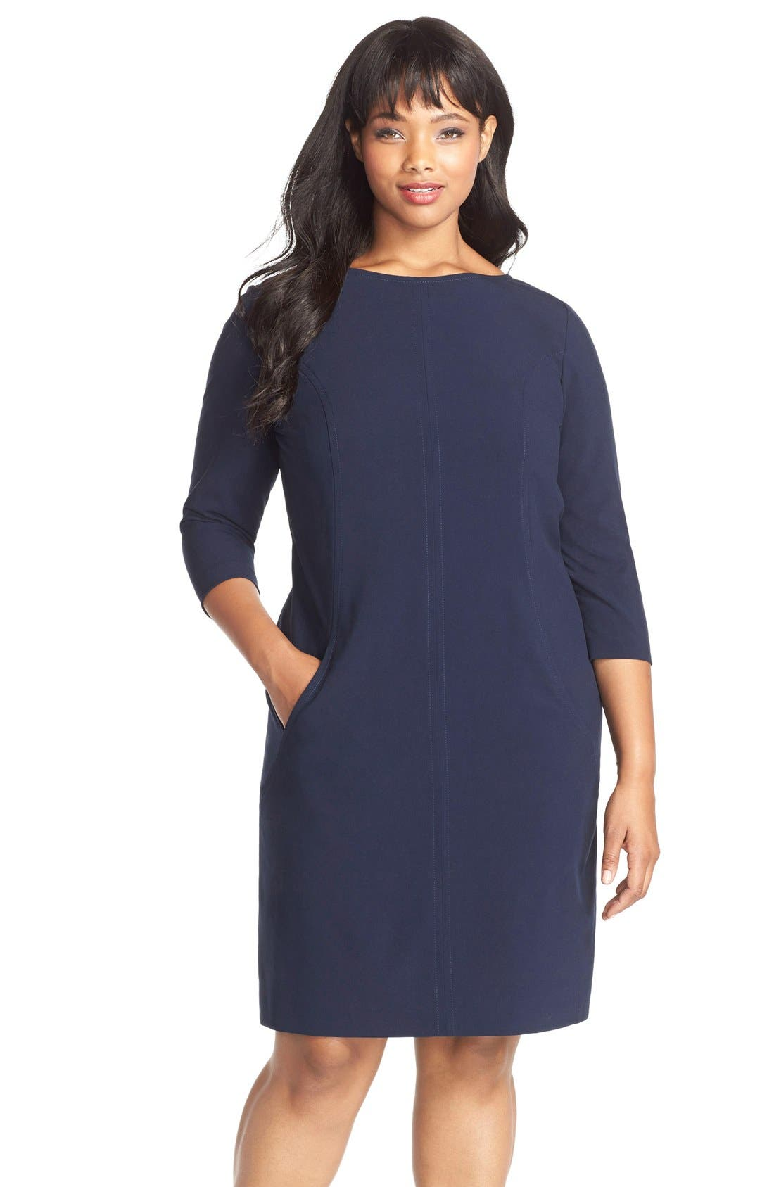 by Arthur S. Levine Seamed A-Line Dress,                             Main thumbnail 1, color,                             Navy