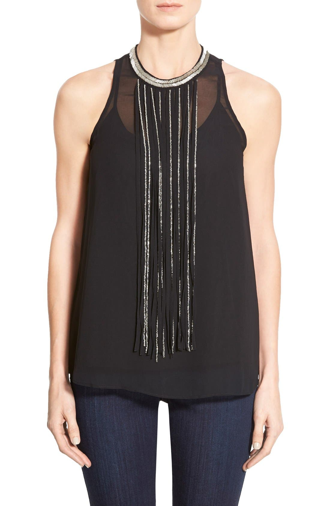 Main Image - DKNYC Embellished Fringe Sleeveless Chiffon Top