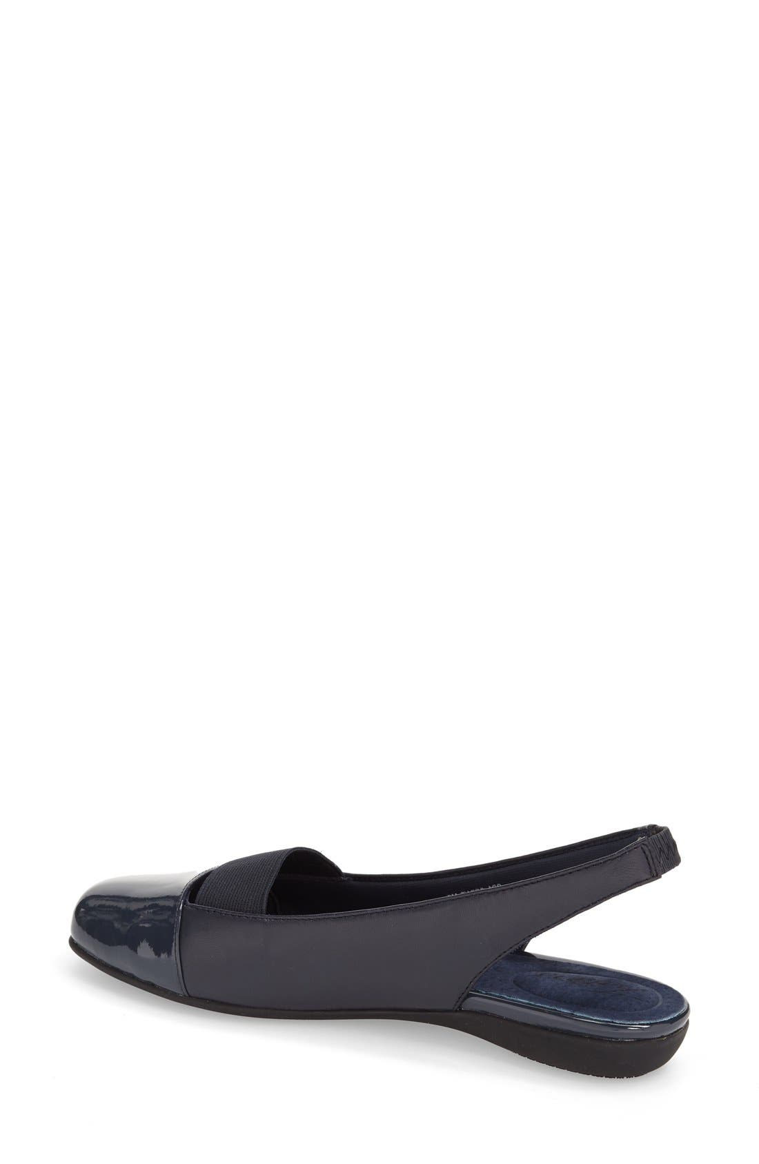'Sarina' Slingback Flat,                             Alternate thumbnail 4, color,                             Navy Leather
