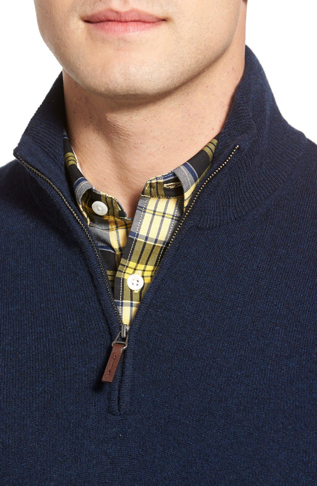 Quarter Zip Cashmere Sweater,                             Alternate thumbnail 4, color,                             Blue Estate Heather
