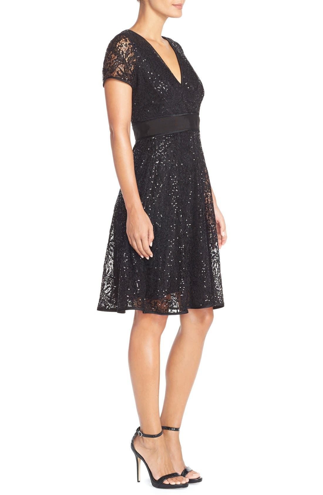 Alternate Image 3  - Nue by Shani Sequin Lace Fit & Flare Dress