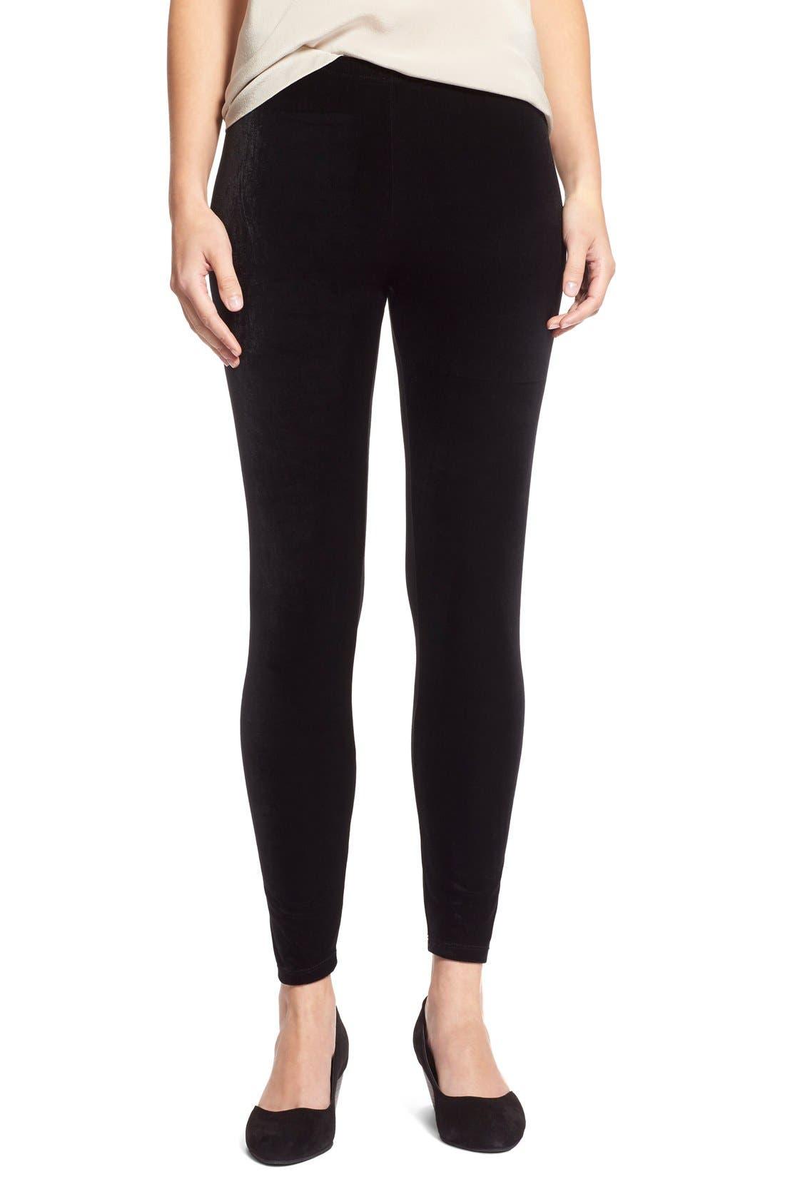 Stretch Velvet Leggings,                         Main,                         color, Black