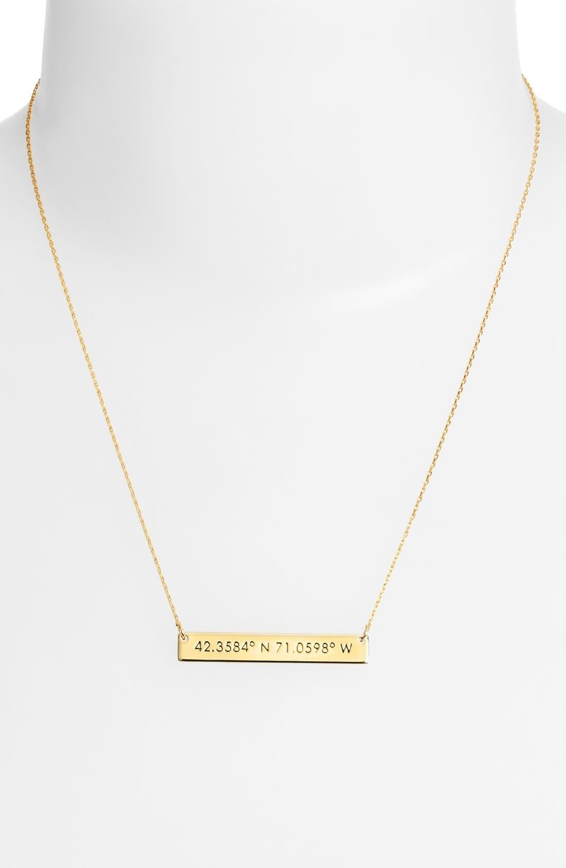 Coordinate Bar Pendant Necklace,                             Alternate thumbnail 2, color,                             Gold/ Boston