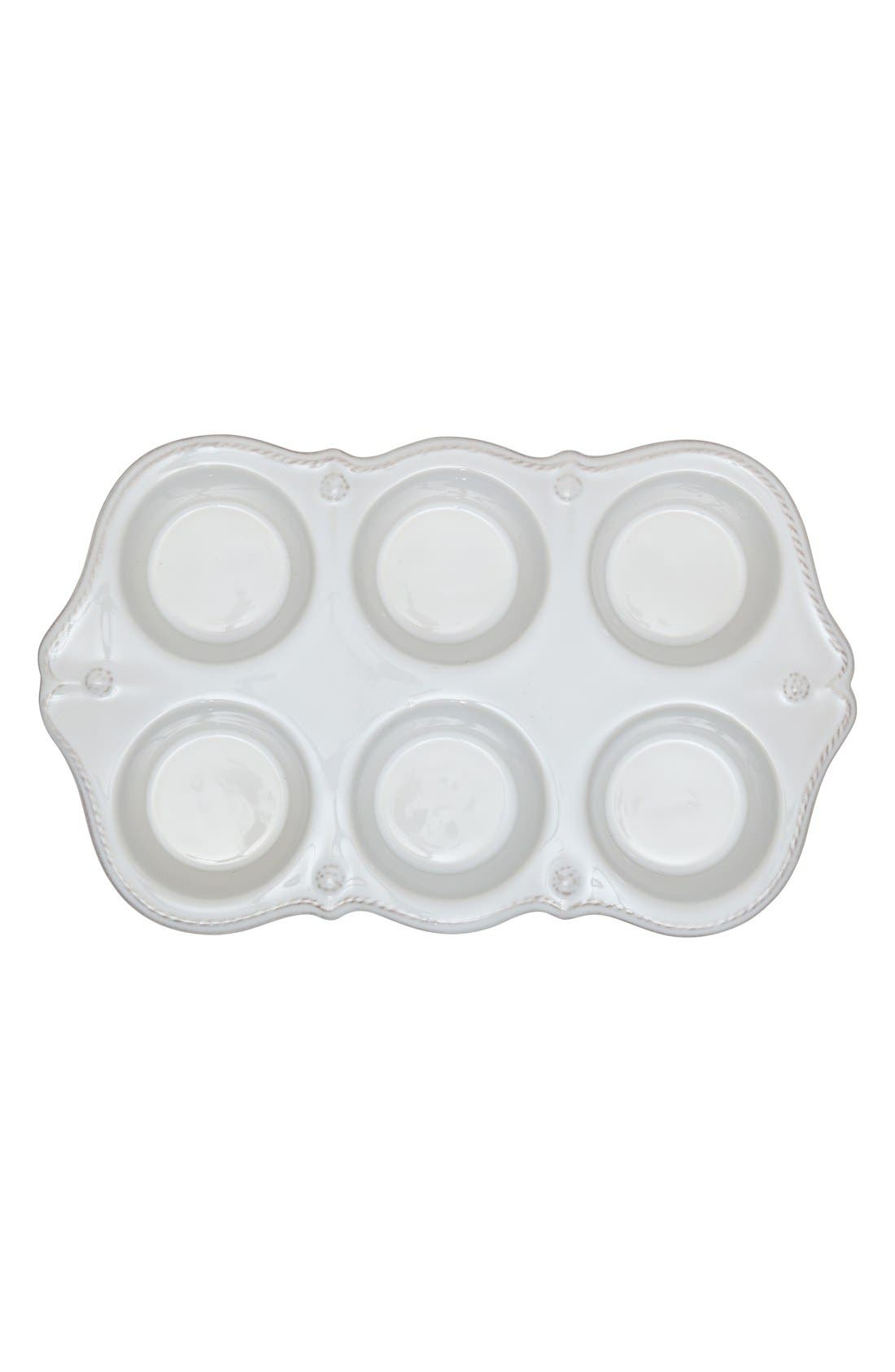 'Berry and Thread' Ceramic Muffin Pan,                         Main,                         color, Whitewash