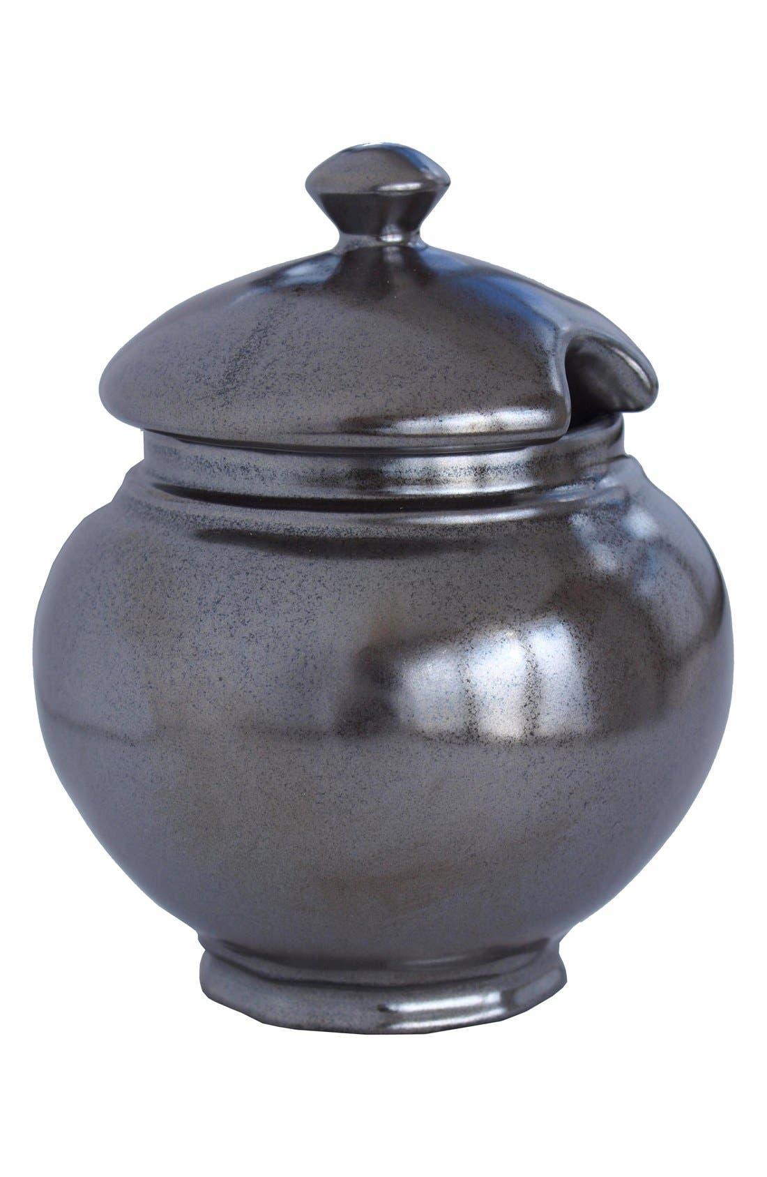 'Pewter' Stoneware Sugar Bowl,                         Main,                         color, Pewter