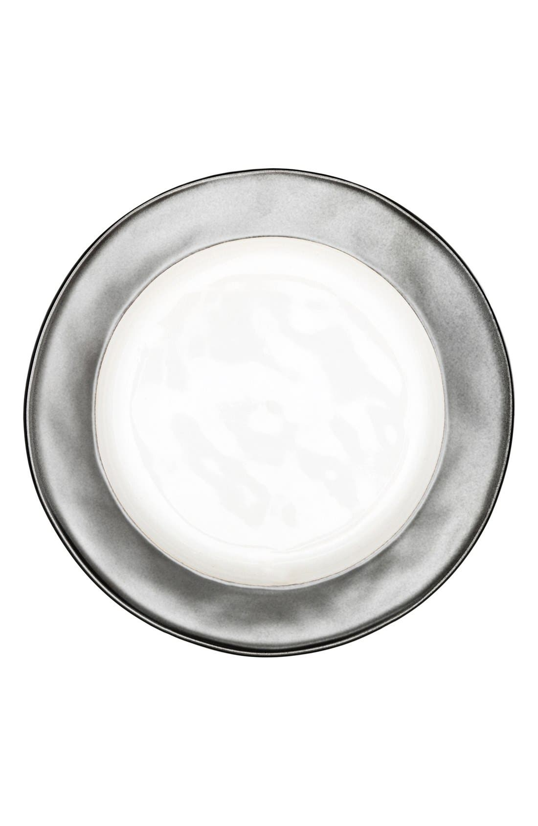 'Emerson' Ceramic Dessert Plate,                         Main,                         color, Pewter/ White