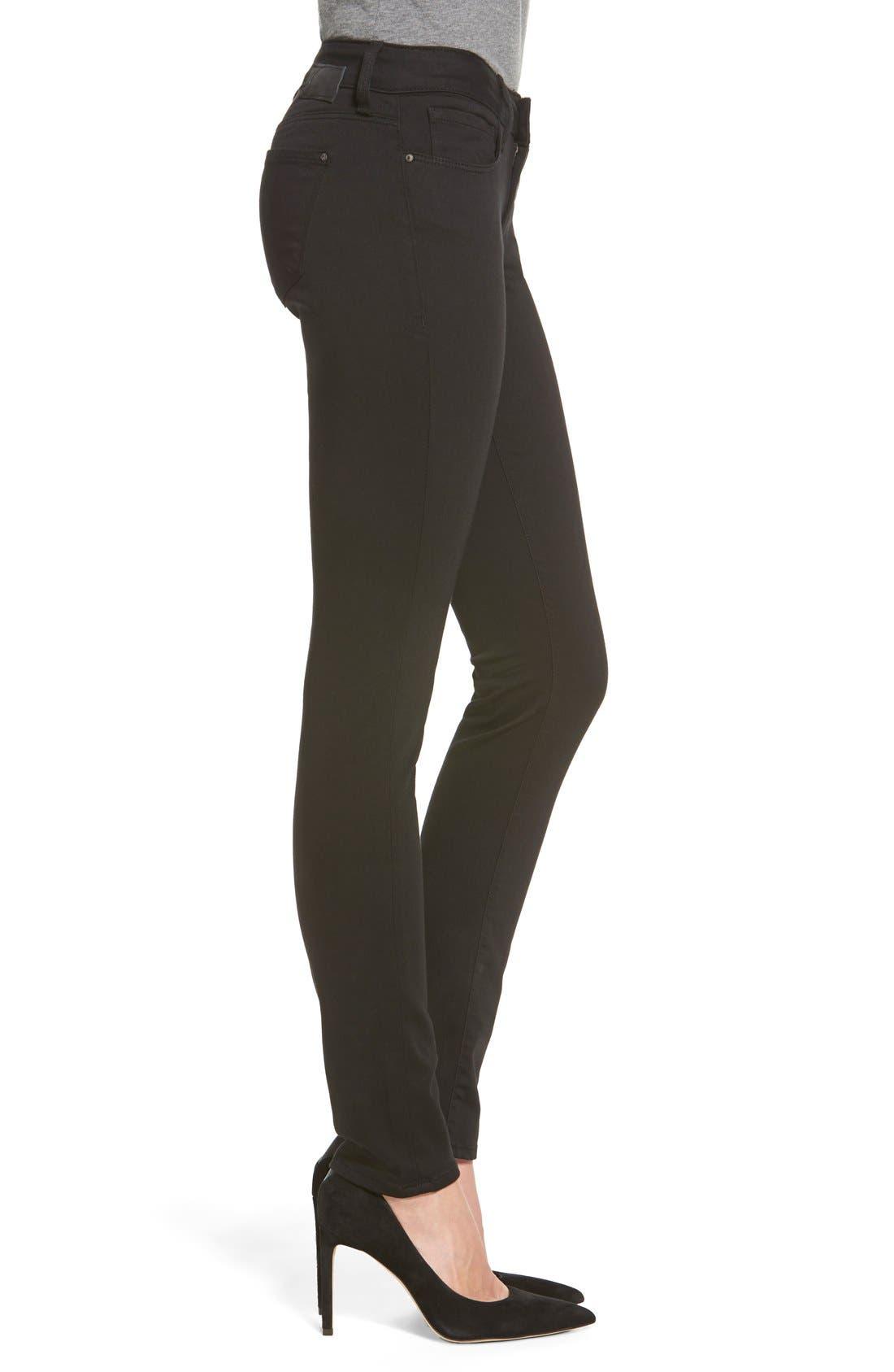 'Alexa' Mid Rise Skinny Jeans,                             Alternate thumbnail 3, color,                             Jet Black