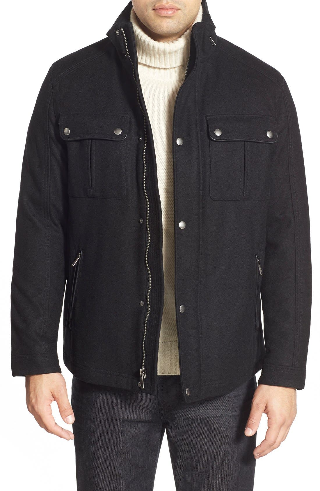 Melton Coat,                         Main,                         color, Black