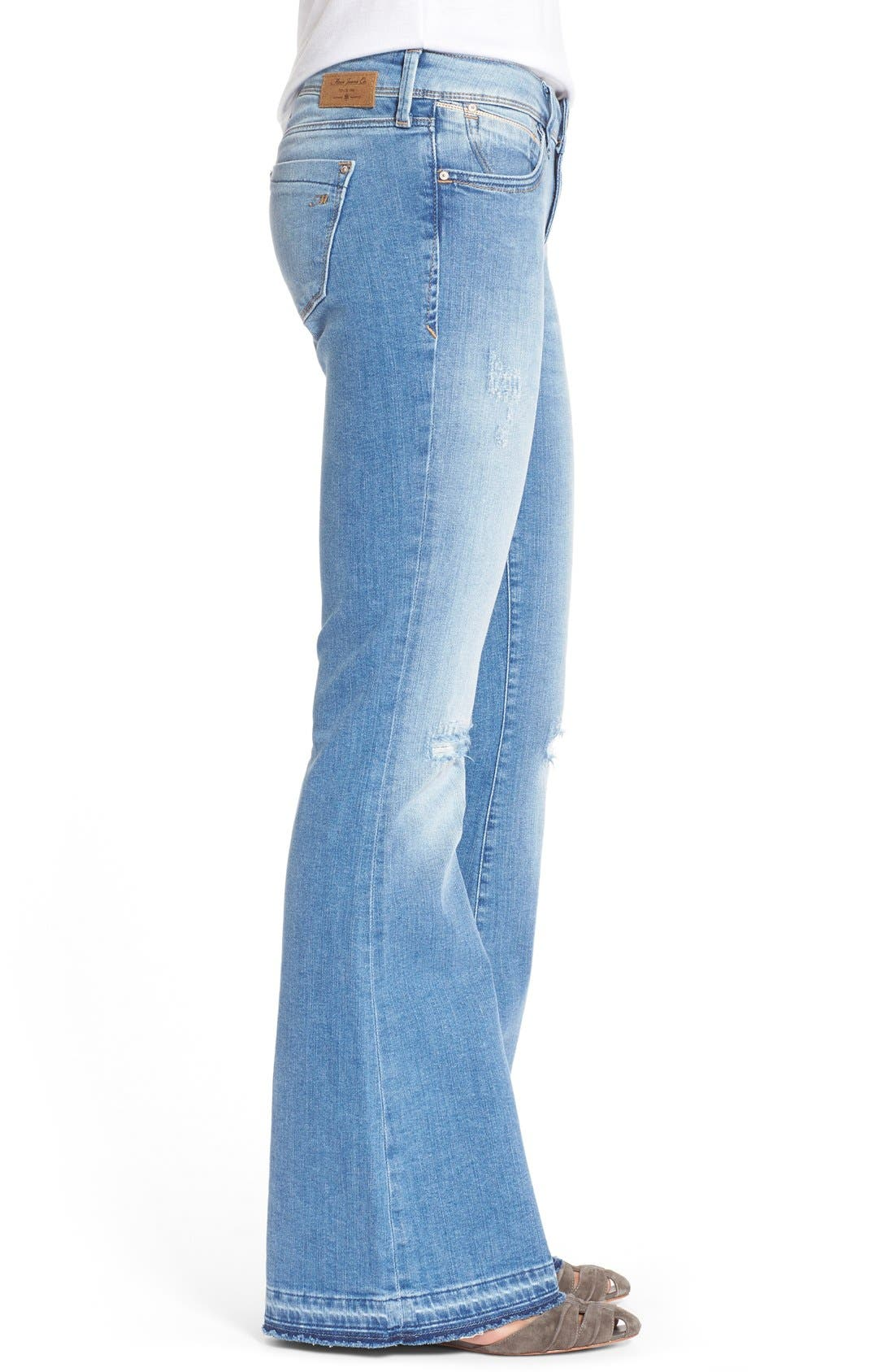 'Peace' Stretch Flare Leg Jeans,                             Alternate thumbnail 3, color,                             Light Ripped