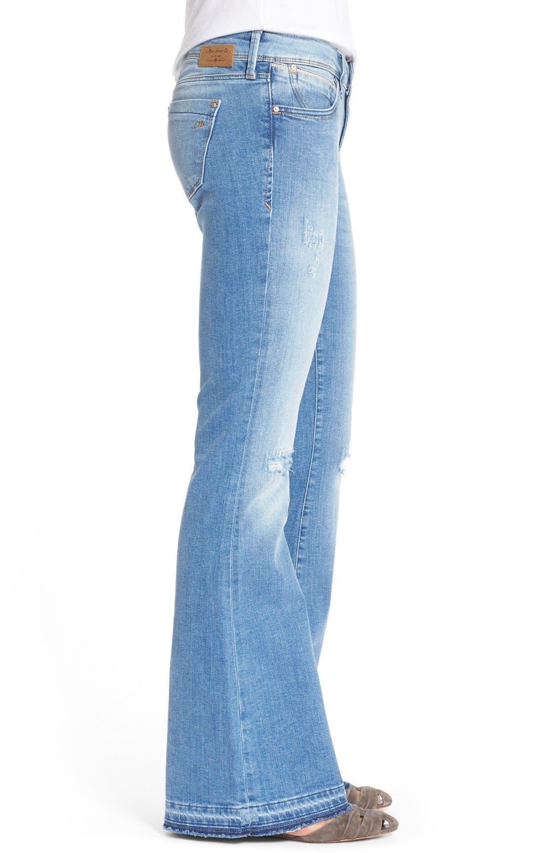 Alternate Image 3  - Mavi Jeans 'Peace' Stretch Flare Leg Jeans (Light Ripped)