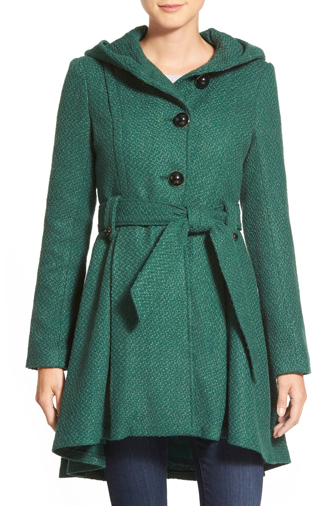 Belted Hooded Skirted Coat,                         Main,                         color, Green