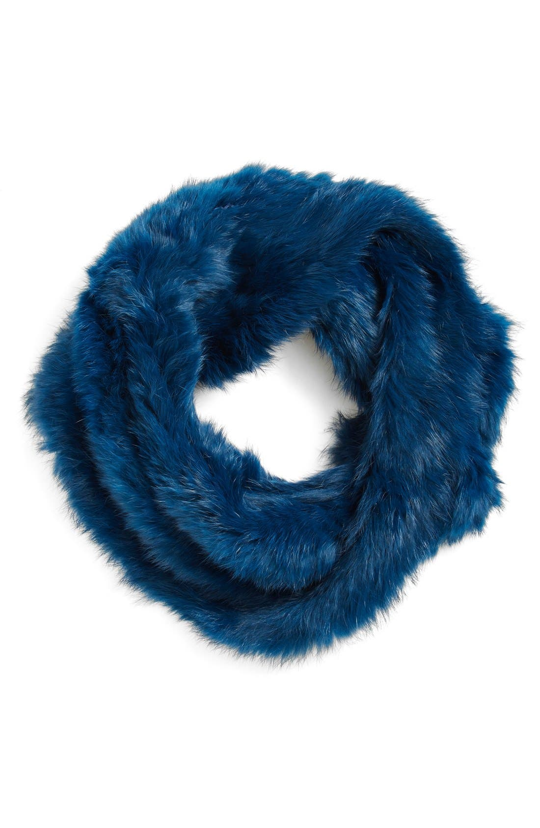 Rabbit Fur Infinity Scarf,                             Main thumbnail 1, color,                             Sea Blue