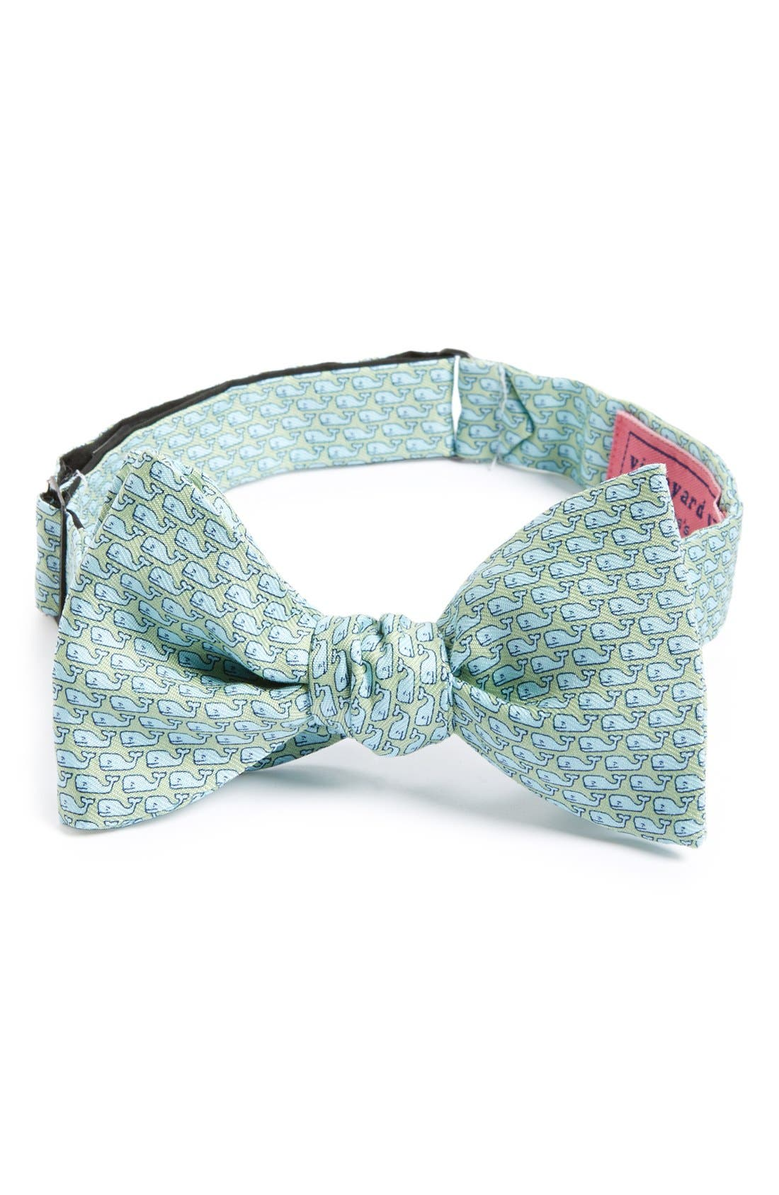 Main Image - vineyard vines Whale Print Silk Bow Tie