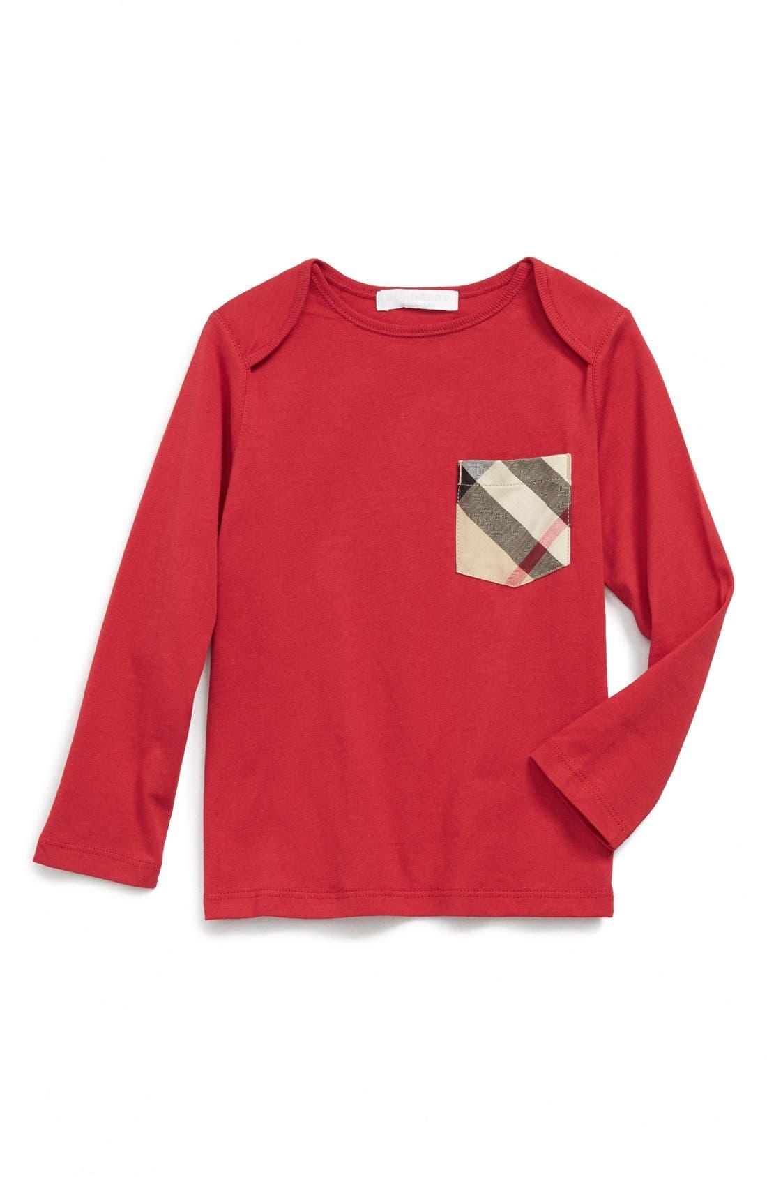 'Callum' Check Print Chest Pocket T-Shirt,                             Main thumbnail 1, color,                             Military Red