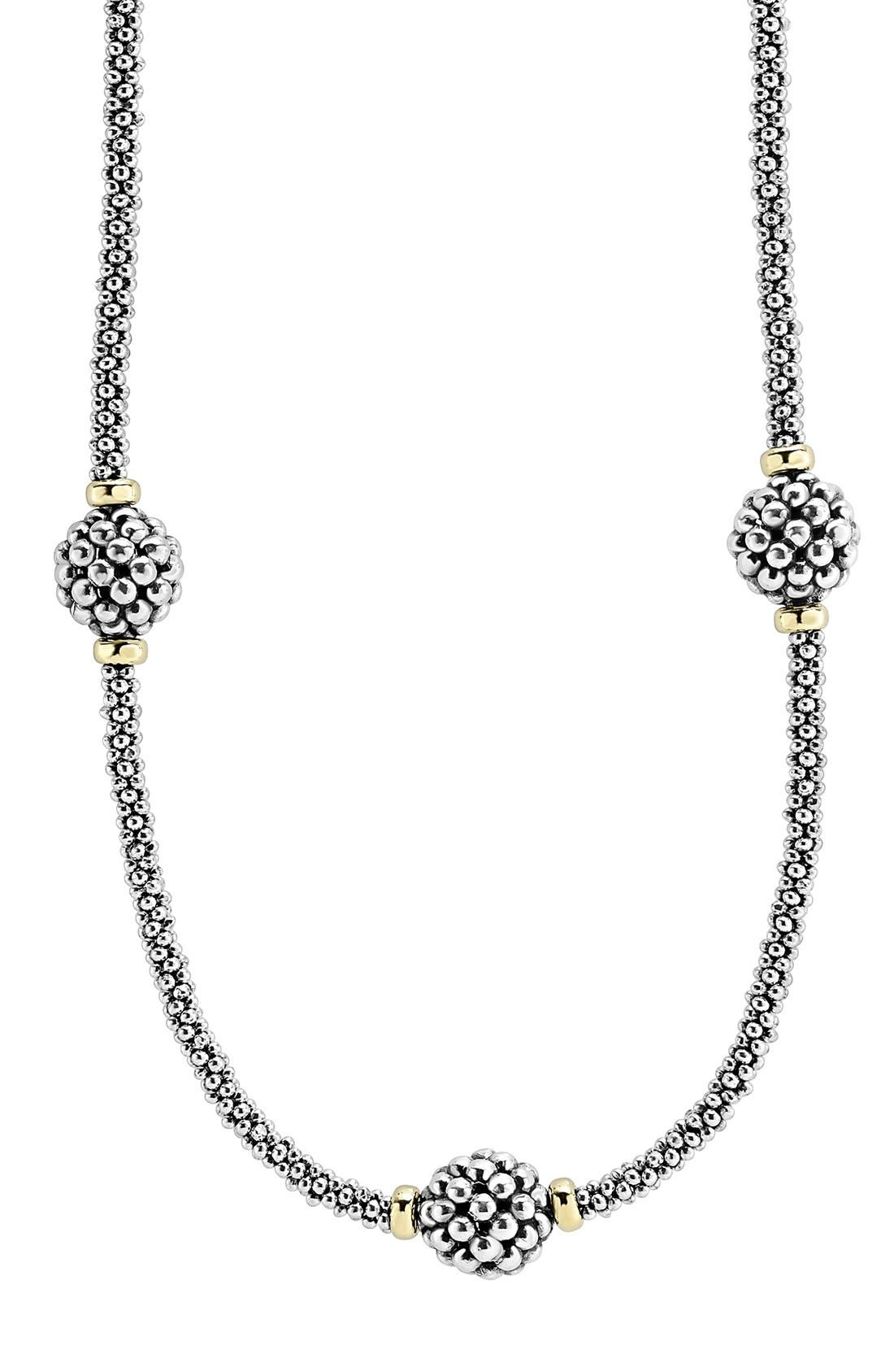'Caviar Forever' Station Rope Necklace,                             Alternate thumbnail 3, color,                             Silver/ Gold