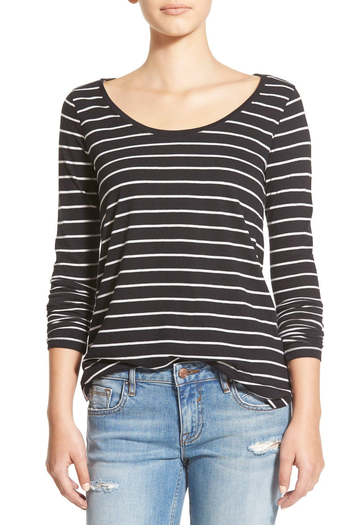 Stripe High/Low Tee,                             Main thumbnail 1, color,                             Black Tawny Stripe