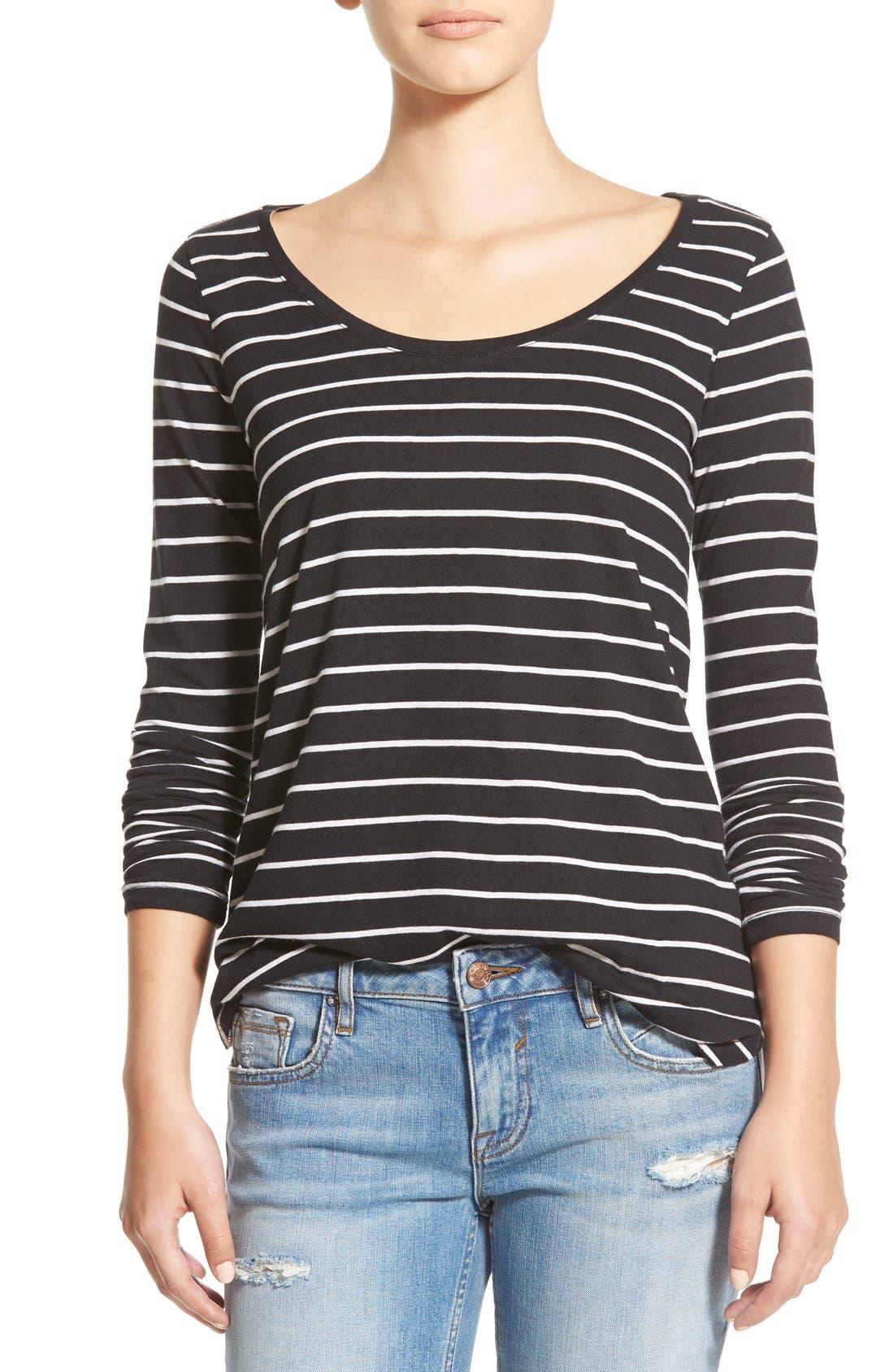 Stripe High/Low Tee,                         Main,                         color, Black Tawny Stripe