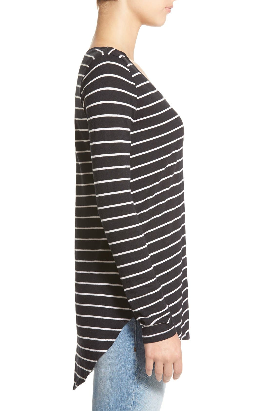 Stripe High/Low Tee,                             Alternate thumbnail 3, color,                             Black Tawny Stripe