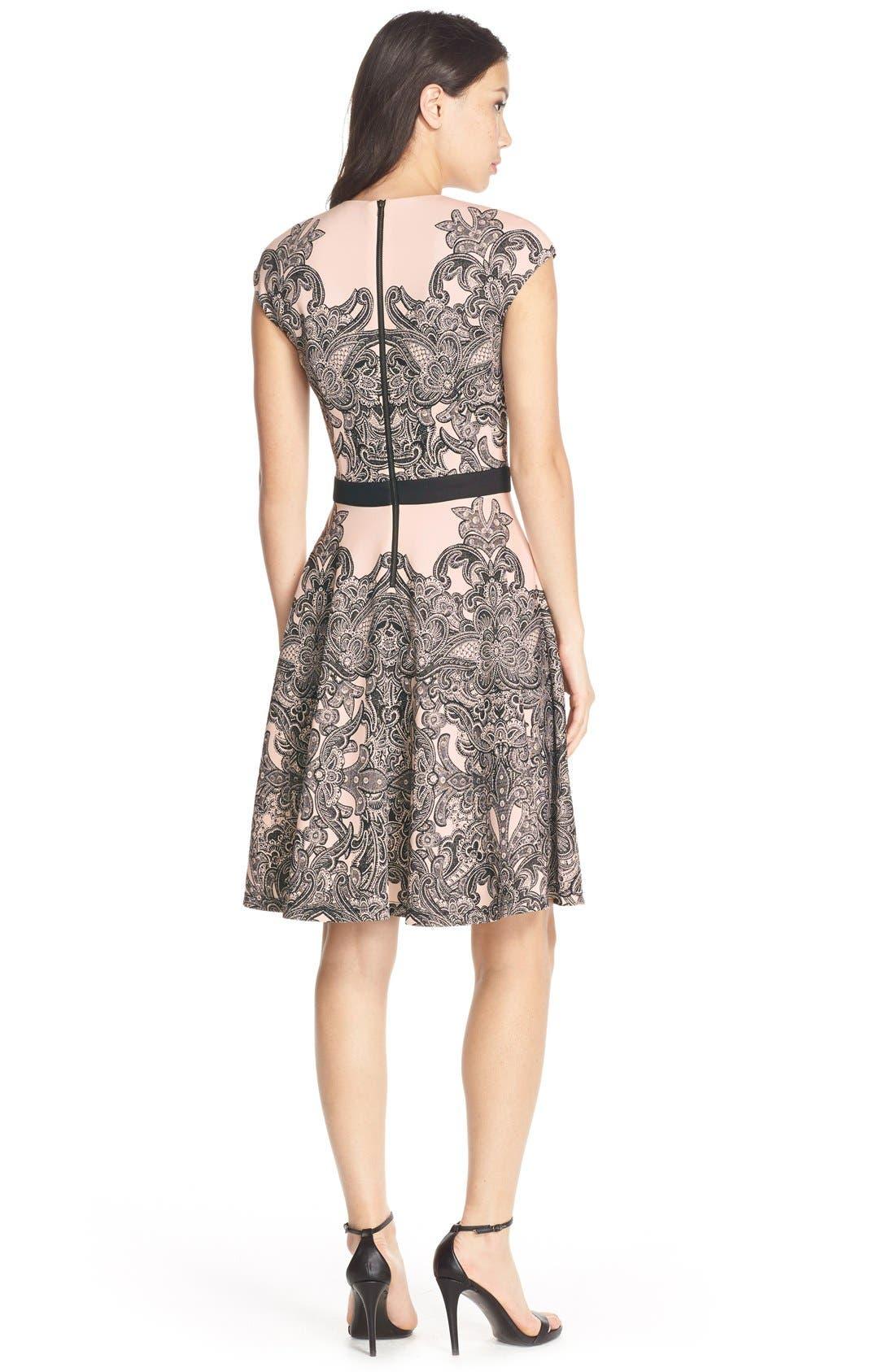 Alternate Image 2  - MaggyLondon Print Scuba Fit & Flare Dress (Regular & Petite)