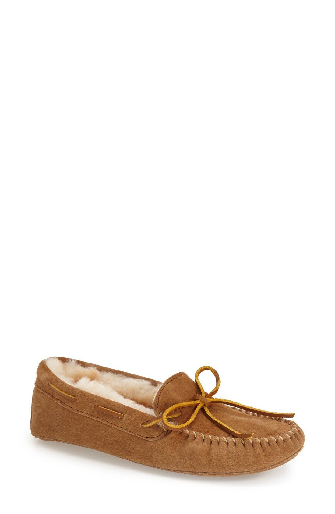 SheepskinMoccasin Slipper,                         Main,                         color, Tan Suede