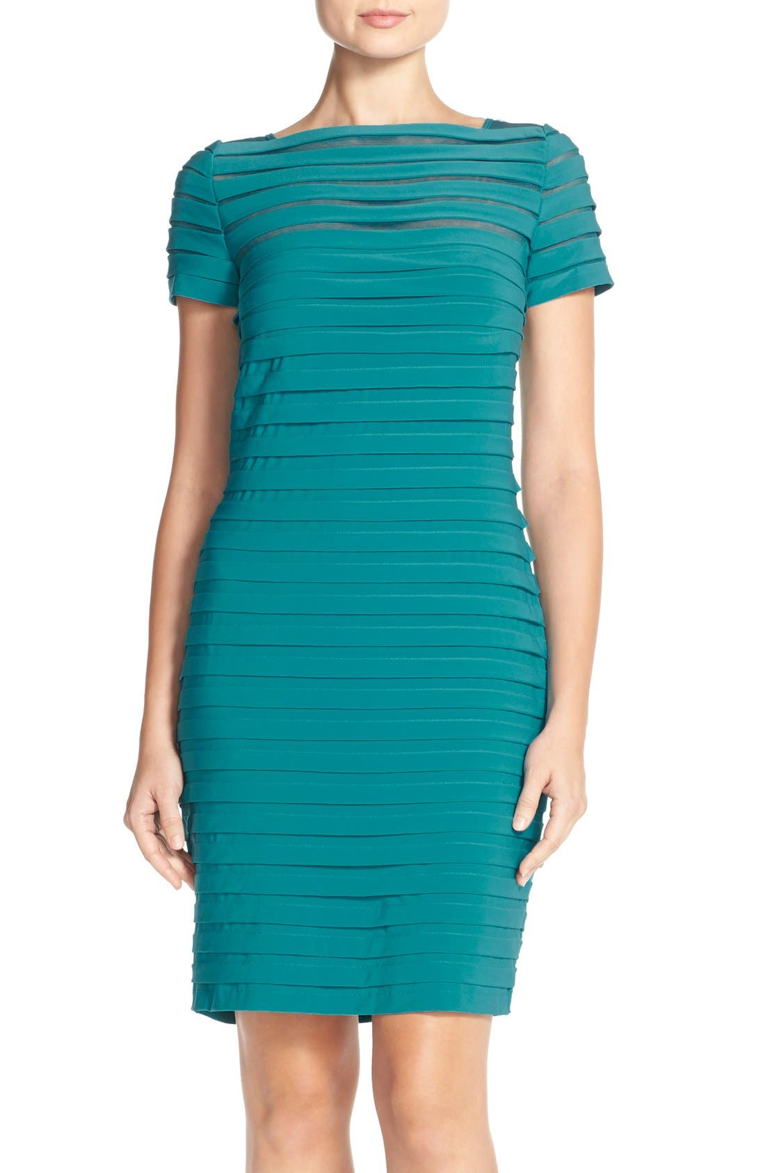 Main Image - Adrianna Papell Illusion Bodice Pleated Jersey Sheath Dress (Regular & Petite)