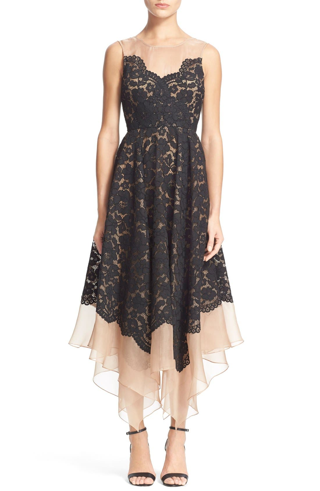 Main Image - Tracy Reese Lace Overlay Handkerchief Illusion Dress