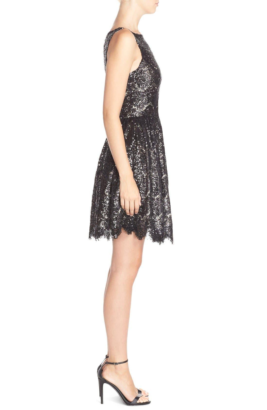 'Sabrina' Sequin Fit & Flare Dress,                             Alternate thumbnail 3, color,                             Black