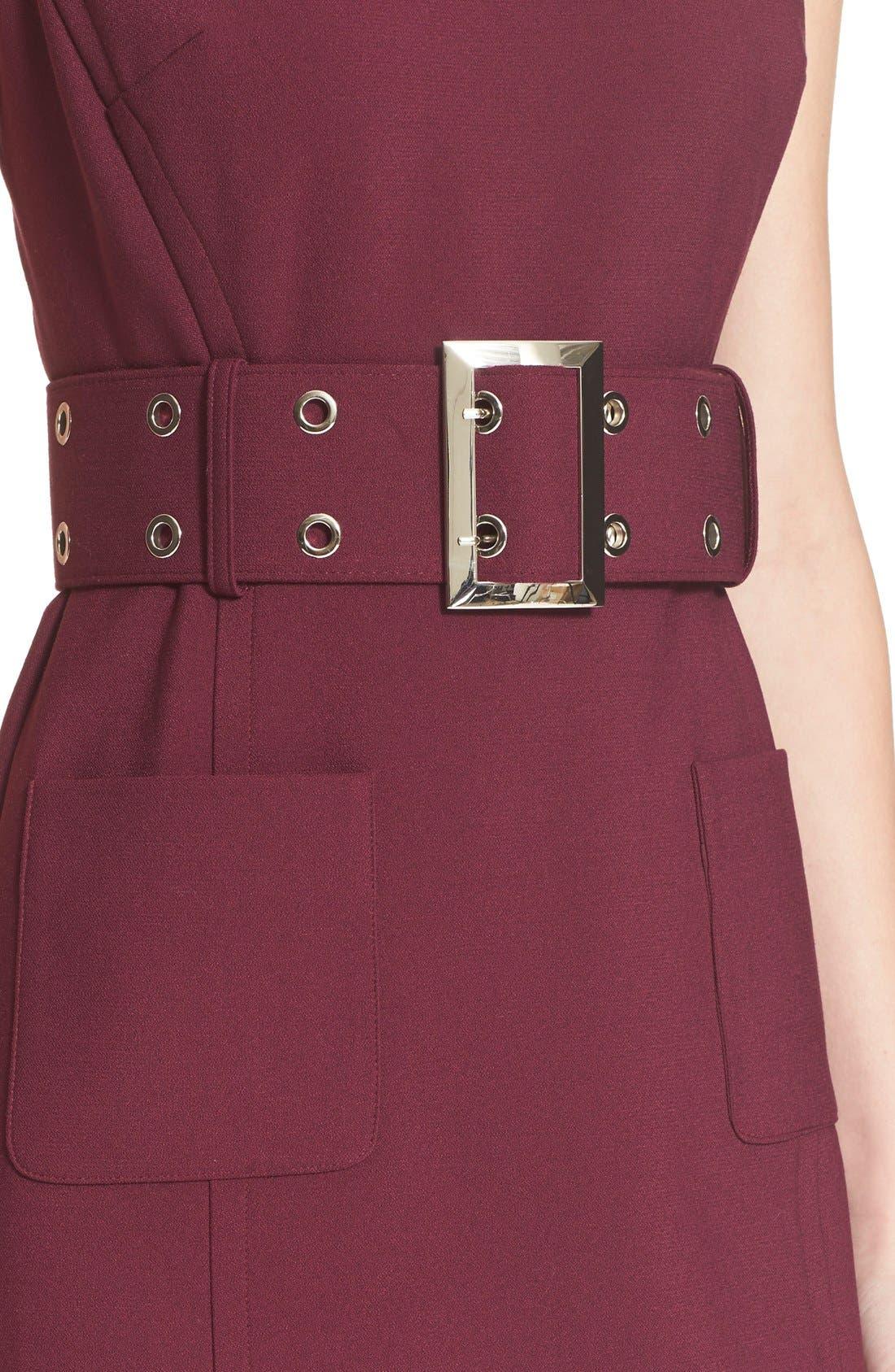Double Crepe Belted Minidress,                             Alternate thumbnail 4, color,                             Burgundy