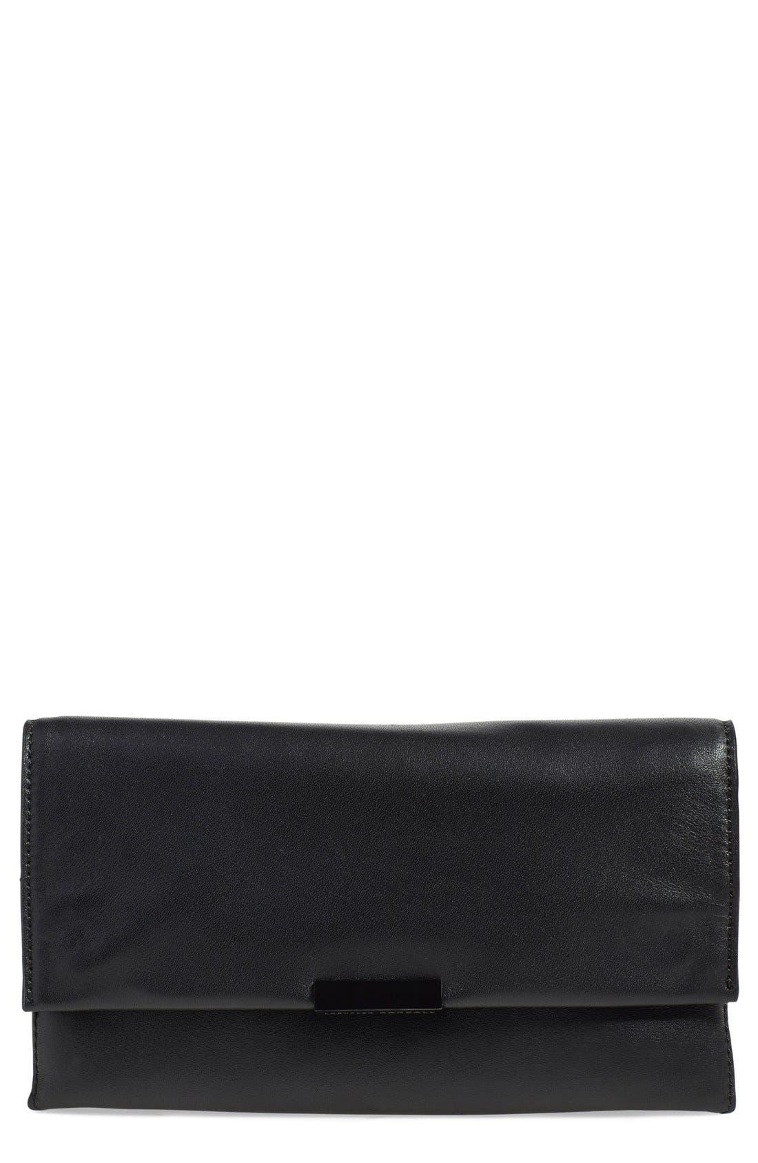 Leather Accordion Clutch,                             Main thumbnail 1, color,                             Black