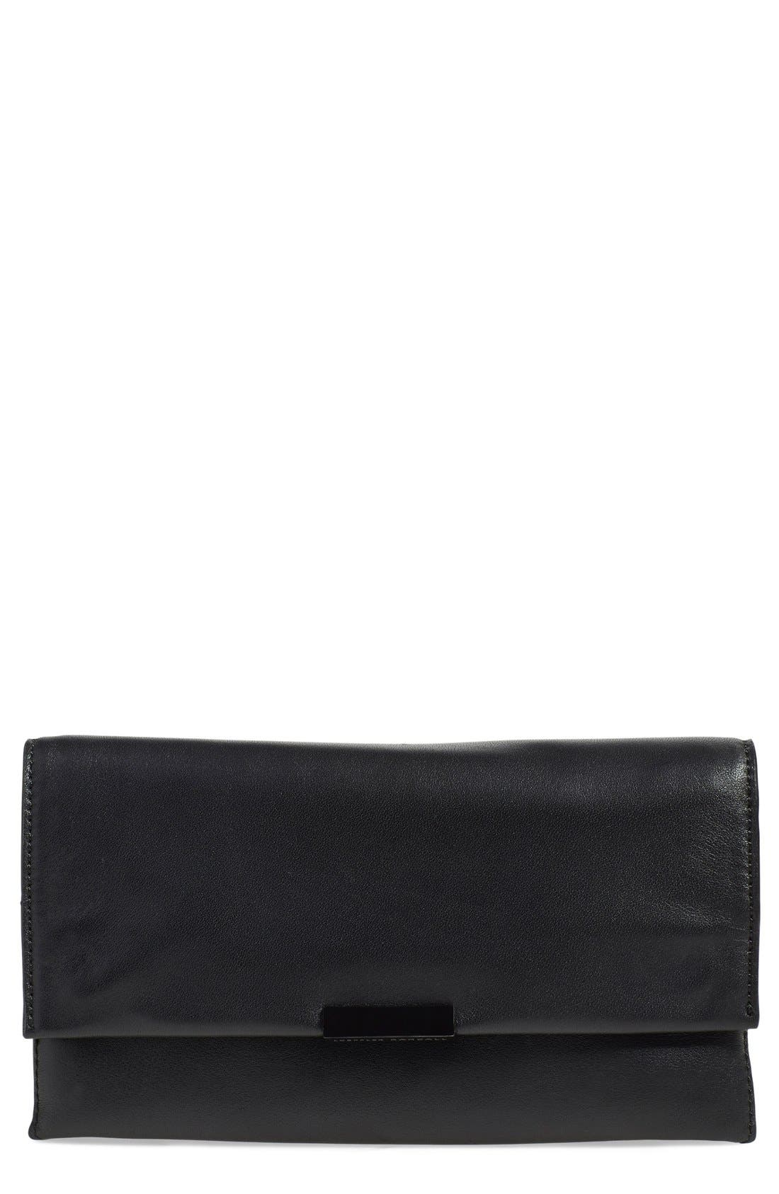 Leather Accordion Clutch,                         Main,                         color, Black