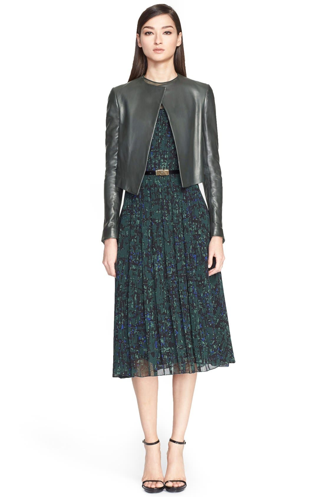 Alternate Image 4  - Jason Wu Abstract Print Pintuck Pleated Georgette Dress with Belt