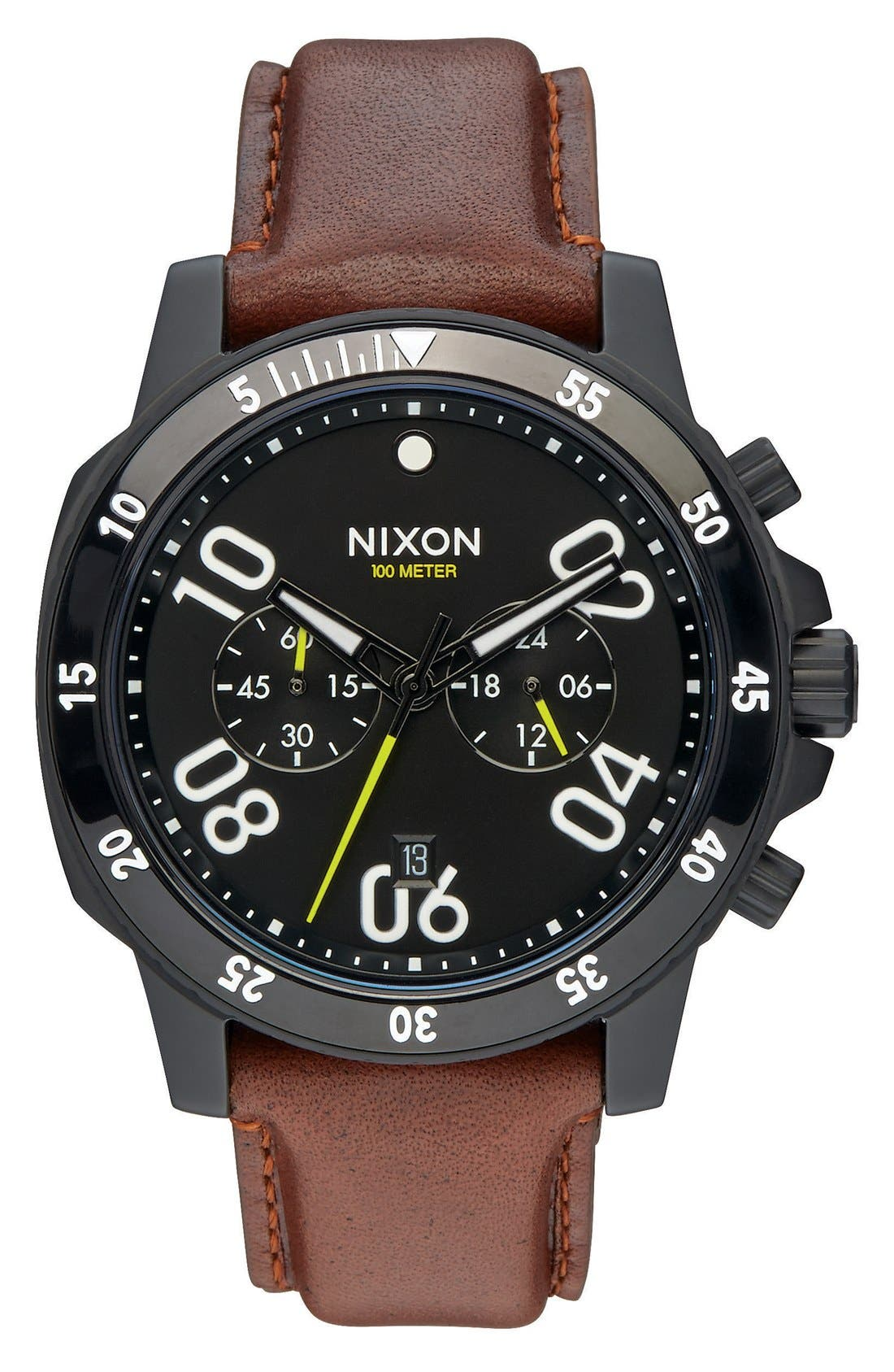'The Ranger' Chronograph Leather Strap Watch, 44mm,                         Main,                         color, Brown/ Black
