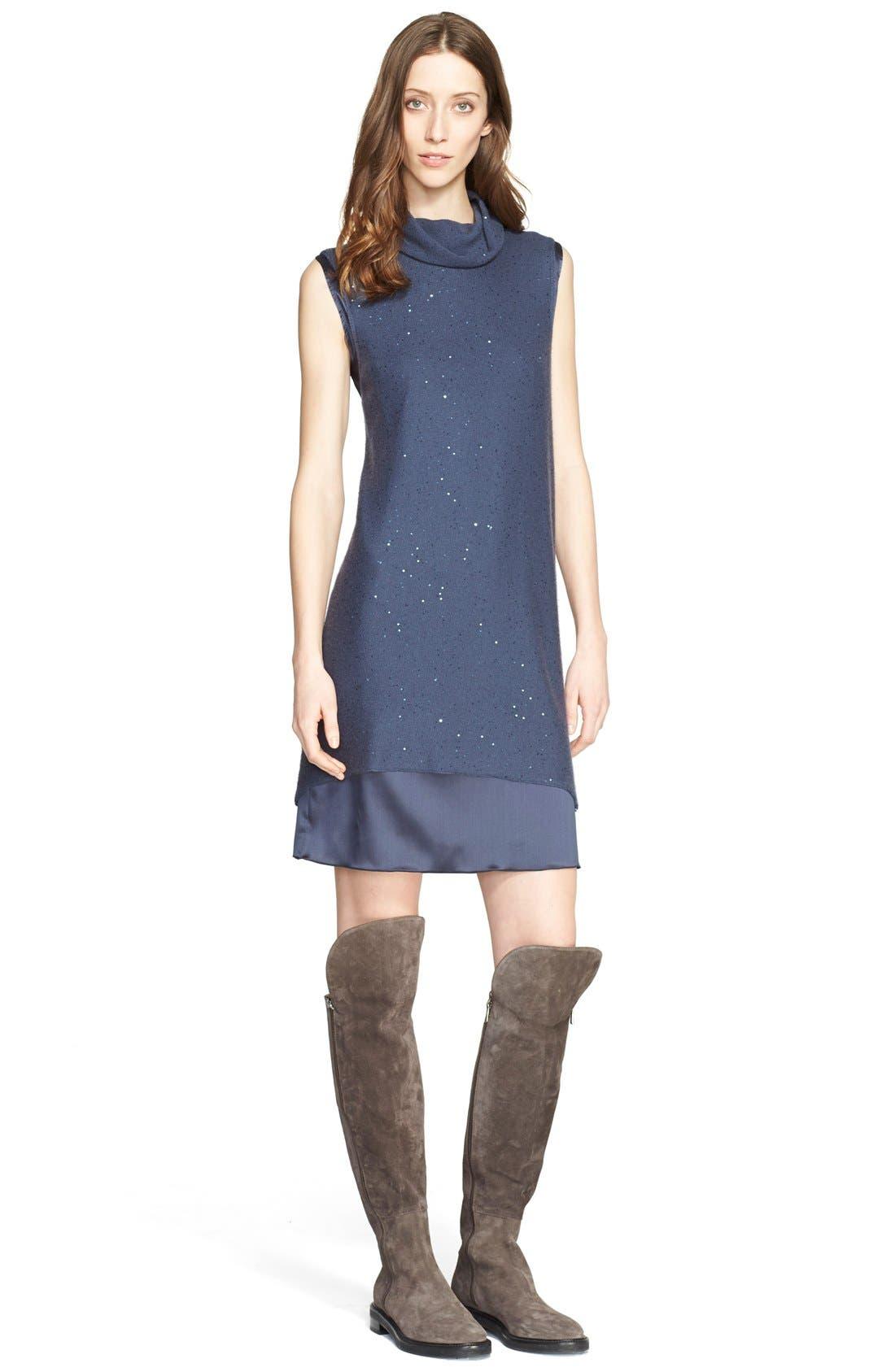 Main Image - Fabiana Filippi Embellished Knit Overlay Satin Dress
