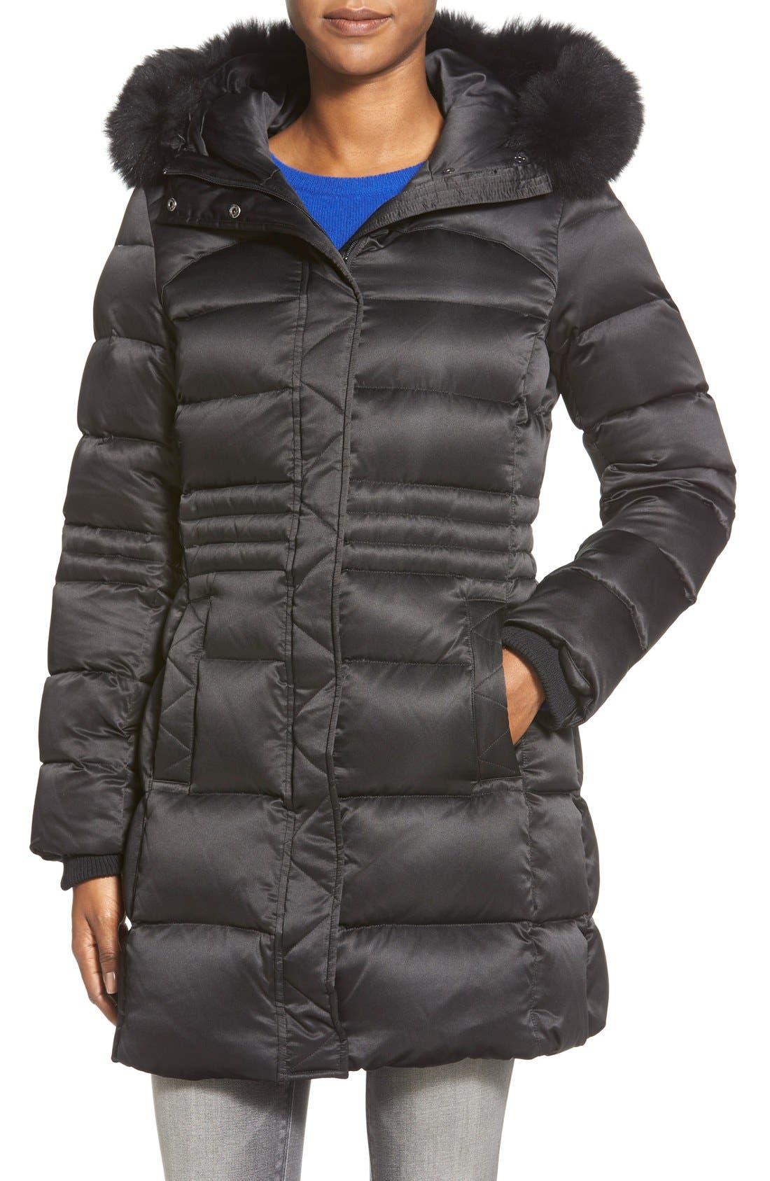 Alternate Image 1 Selected - Sachi Down Coat with Genuine Fox Fur Trim